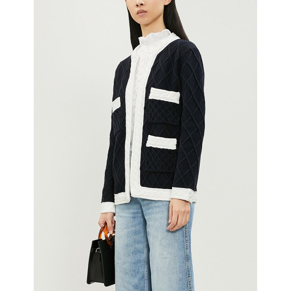 クローディ ピエルロ claudie pierlot レディース トップス カーディガン【monceau diamond-pattern wool and cotton-blend cardigan】Navy