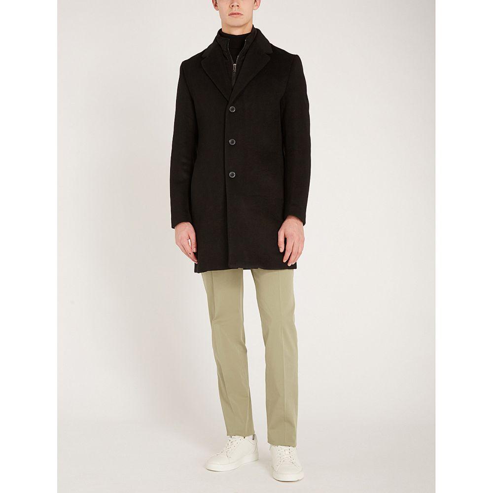 リース reiss メンズ アウター コート【picton layered wool-blend coat】Black