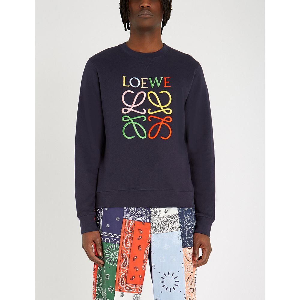 ロエベ loewe メンズ トップス スウェット・トレーナー【logo-embroidered cotton-jersey sweatshirt】Navy blue/multicolor