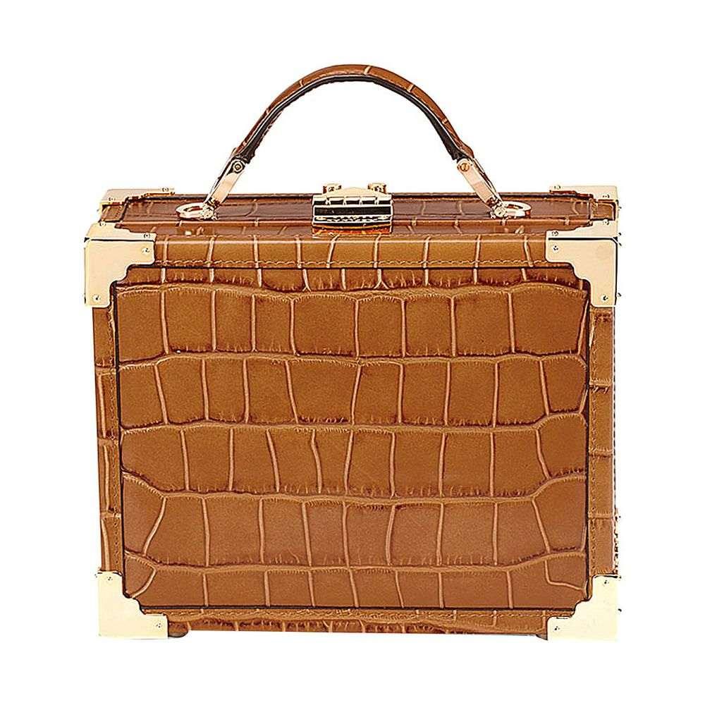 アスピナル オブ ロンドン aspinal of london レディース バッグ ショルダーバッグ【mini trunk crocodile-embossed leather shoulder bag】Tan