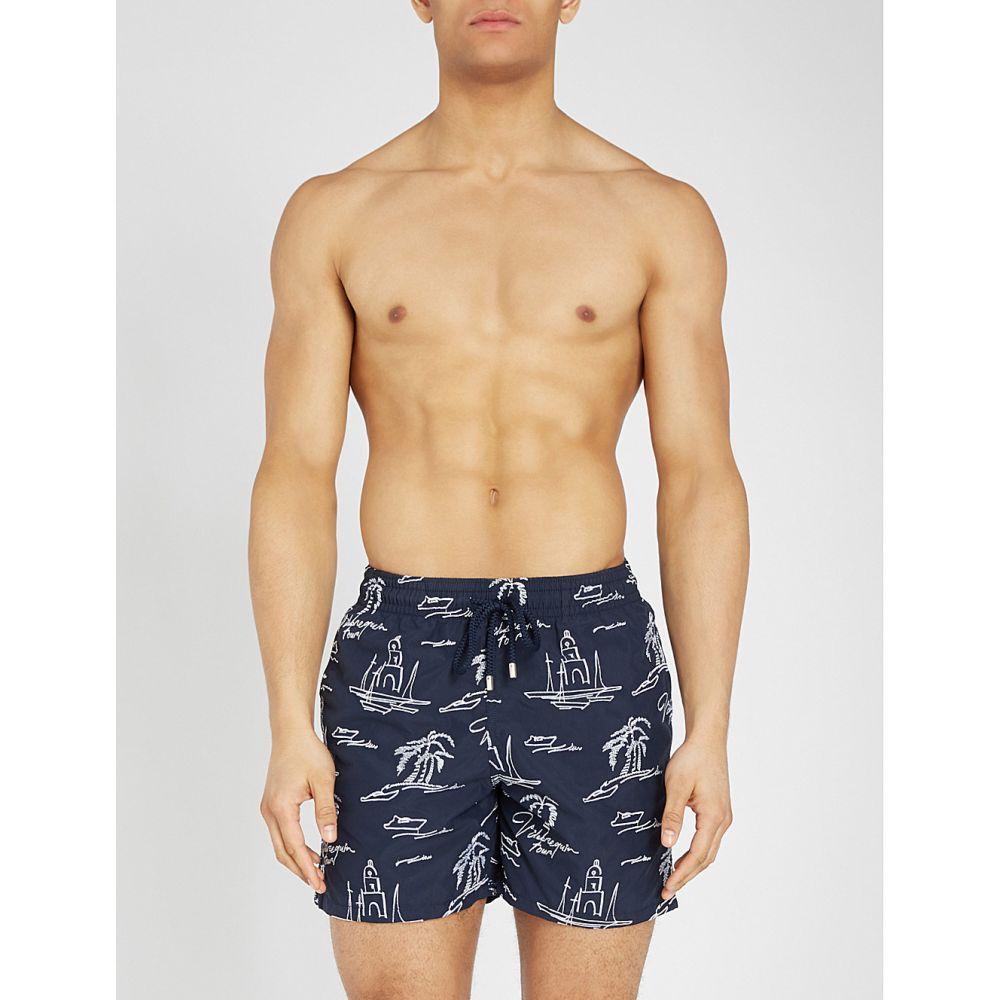 ヴィルブレクイン vilebrequin メンズ 水着・ビーチウェア 海パン【mistrel relaxed-fit embroidered swim shorts】Navy