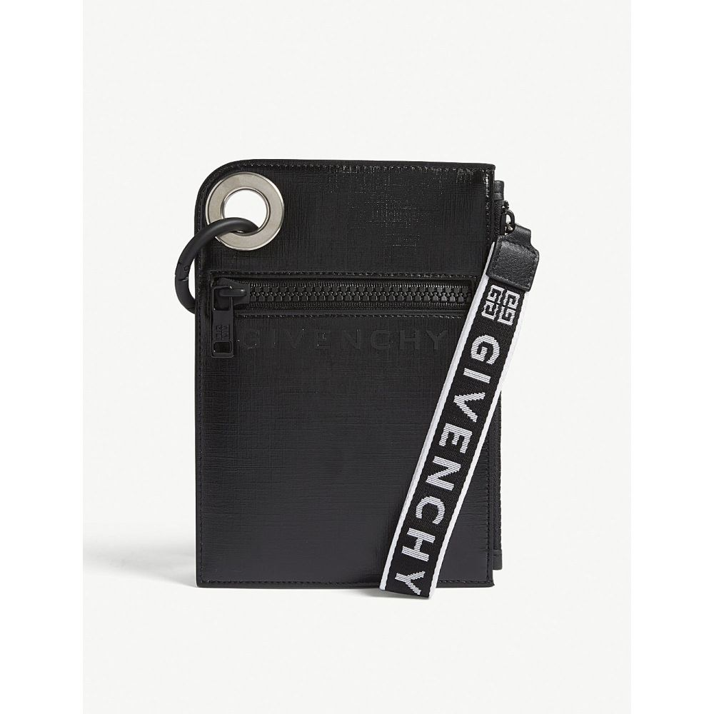 ジバンシー givenchy メンズ ポーチ【logo-print leather pouch】Black