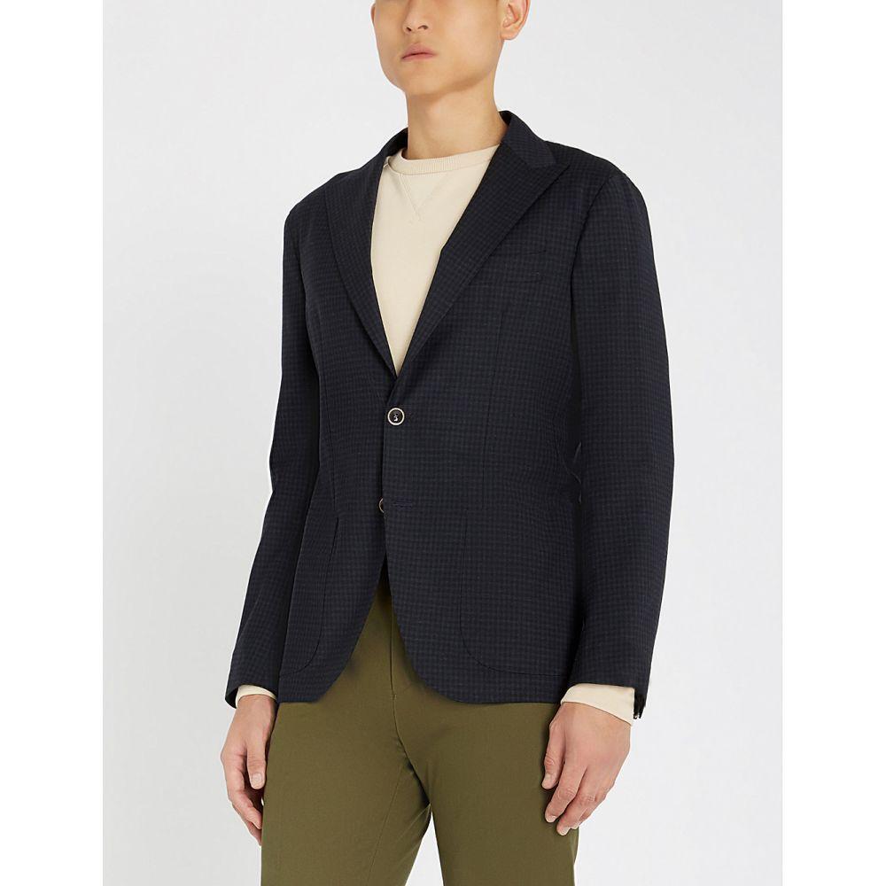 イレブンティ eleventy メンズ アウター スーツ・ジャケット【checked regular-fit stretch-cotton blazer】Navy