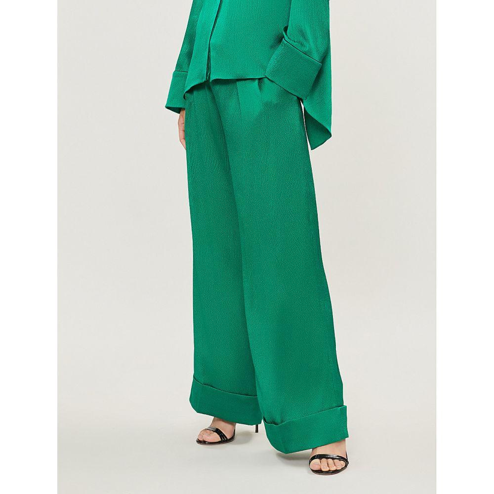 ローラン ムレ roland mouret レディース ボトムス・パンツ【perkins wide-leg high-rise stretch-silk trousers】Emerald