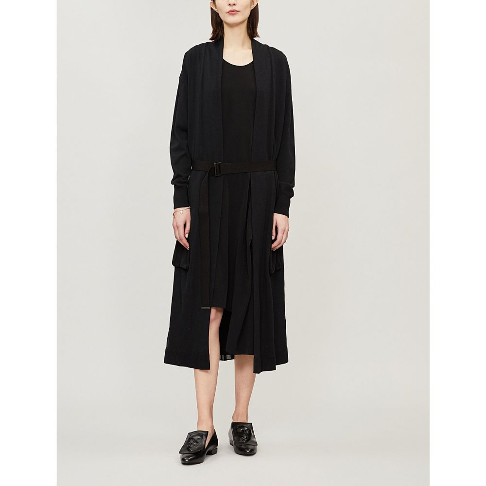 ys レディース トップス カーディガン【belted longline cotton-blend cardigan】Black