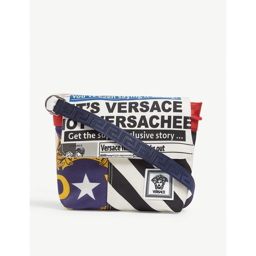 ヴェルサーチ versace メンズ バッグ メッセンジャーバッグ【news print canvas cross-body bag】Blue white red