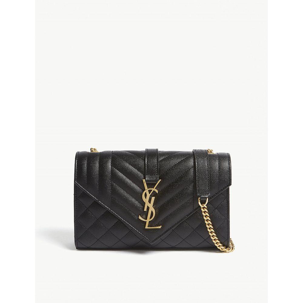 イヴ サンローラン saint laurent レディース バッグ ショルダーバッグ【monogram small quilted pebbled leather satchel】Black/gold