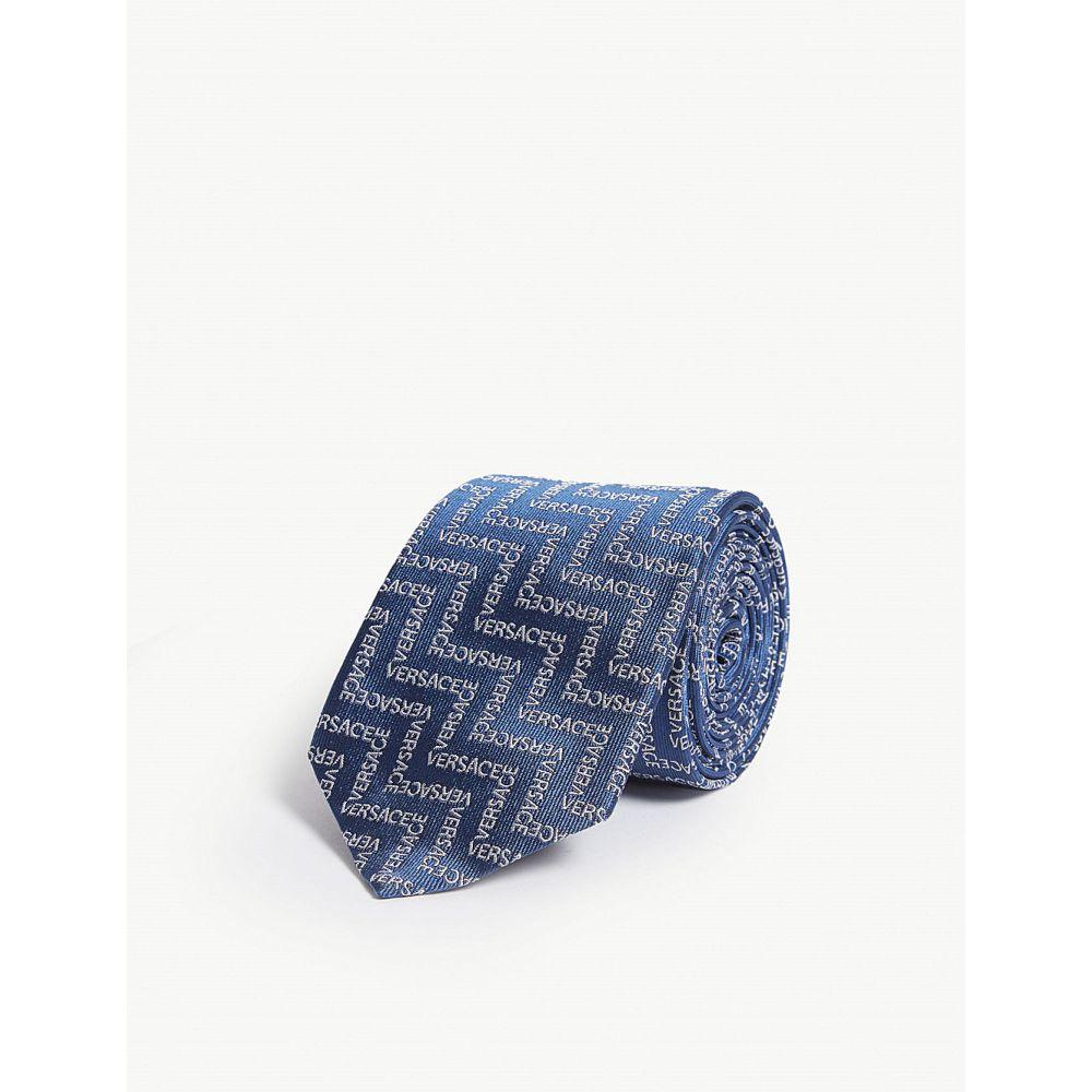 ヴェルサーチ versace メンズ ネクタイ【zigzag logo silk tie】Blue