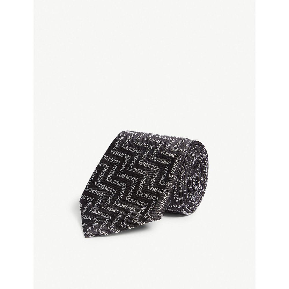 ヴェルサーチ versace メンズ ネクタイ【zigzag logo silk tie】Black