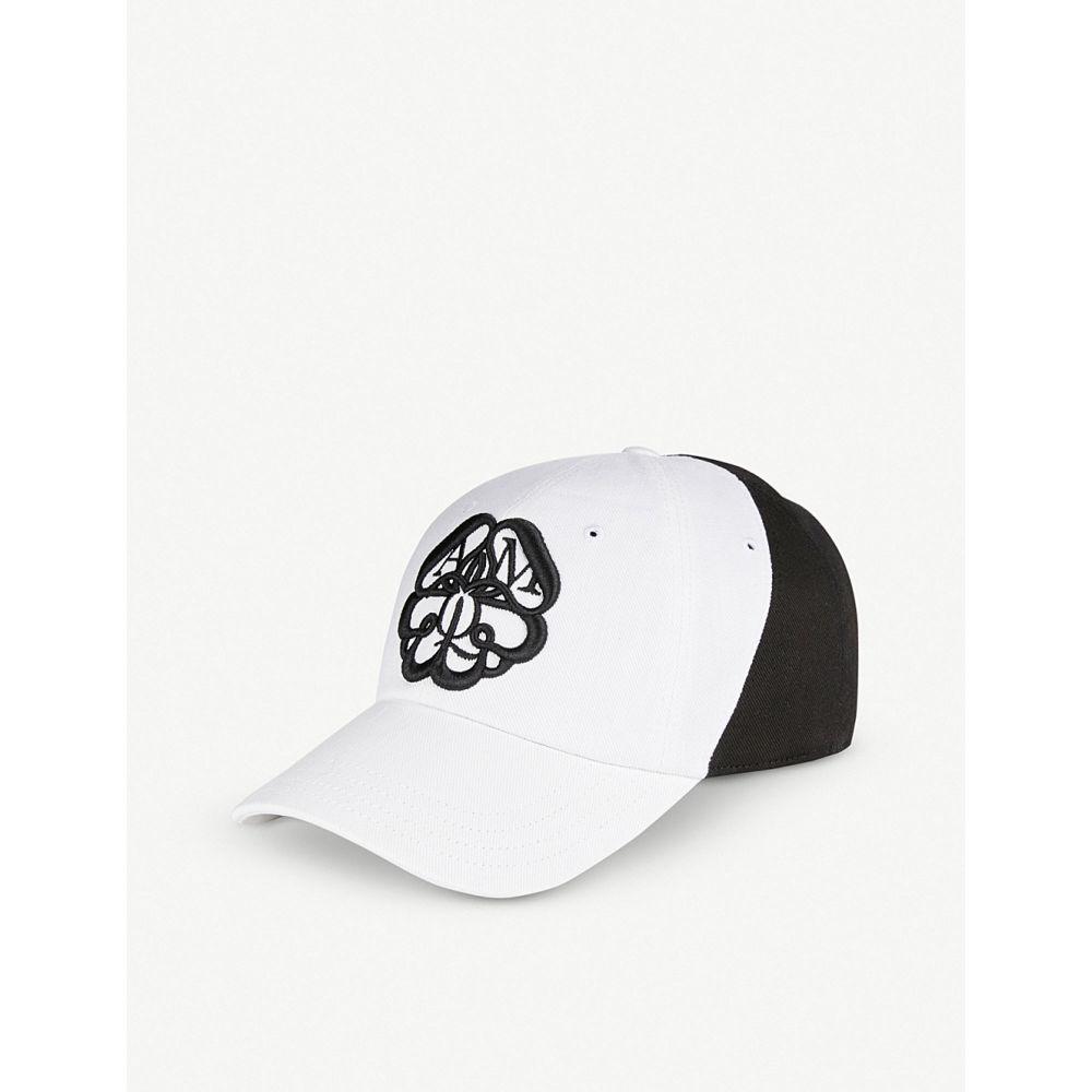 アレキサンダー マックイーン alexander mcqueen メンズ 帽子 キャップ【embroidered charm logo cotton baseball cap】Ivory black