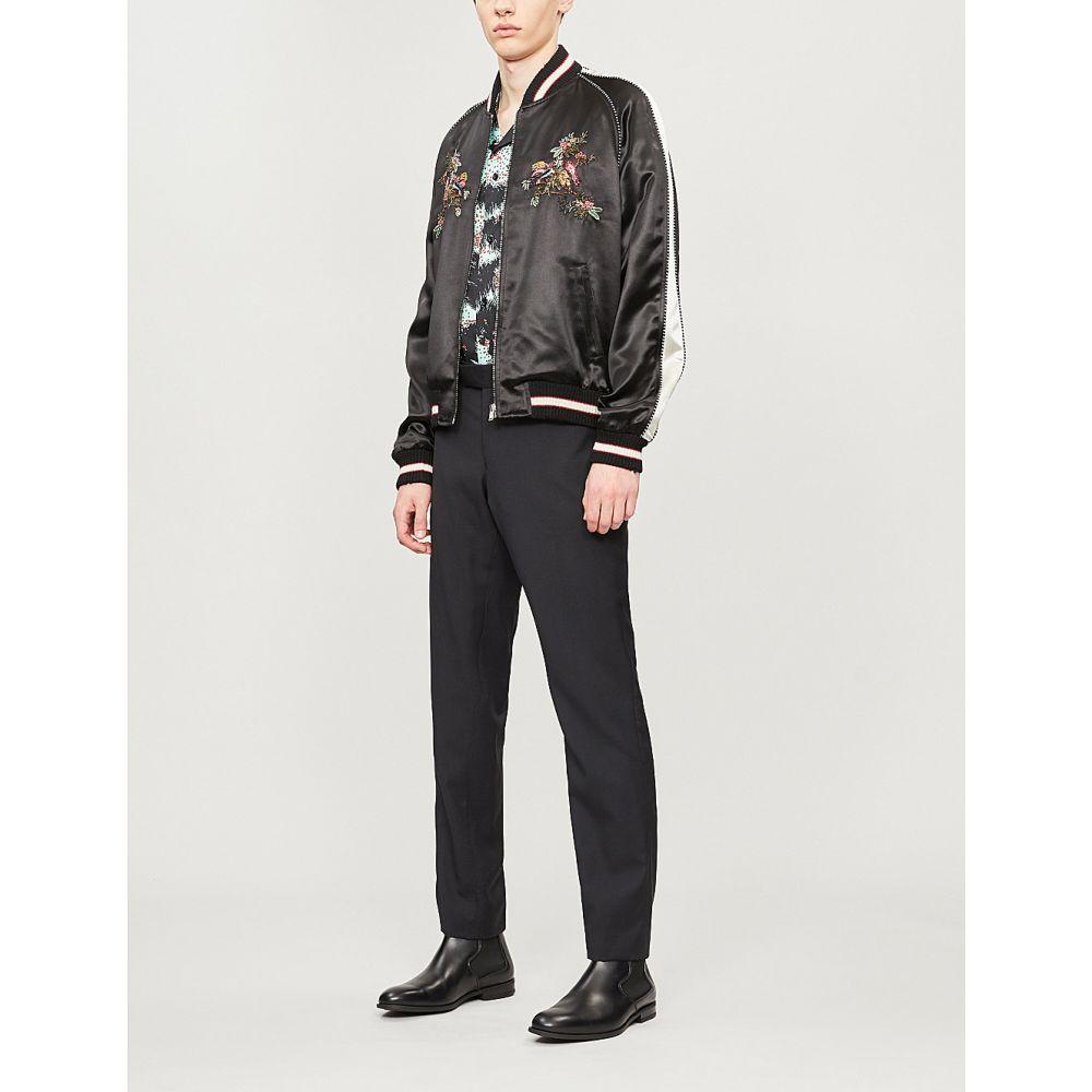 イヴ サンローラン saint laurent メンズ アウター ブルゾン【embroidered satin bomber jacket】Noir