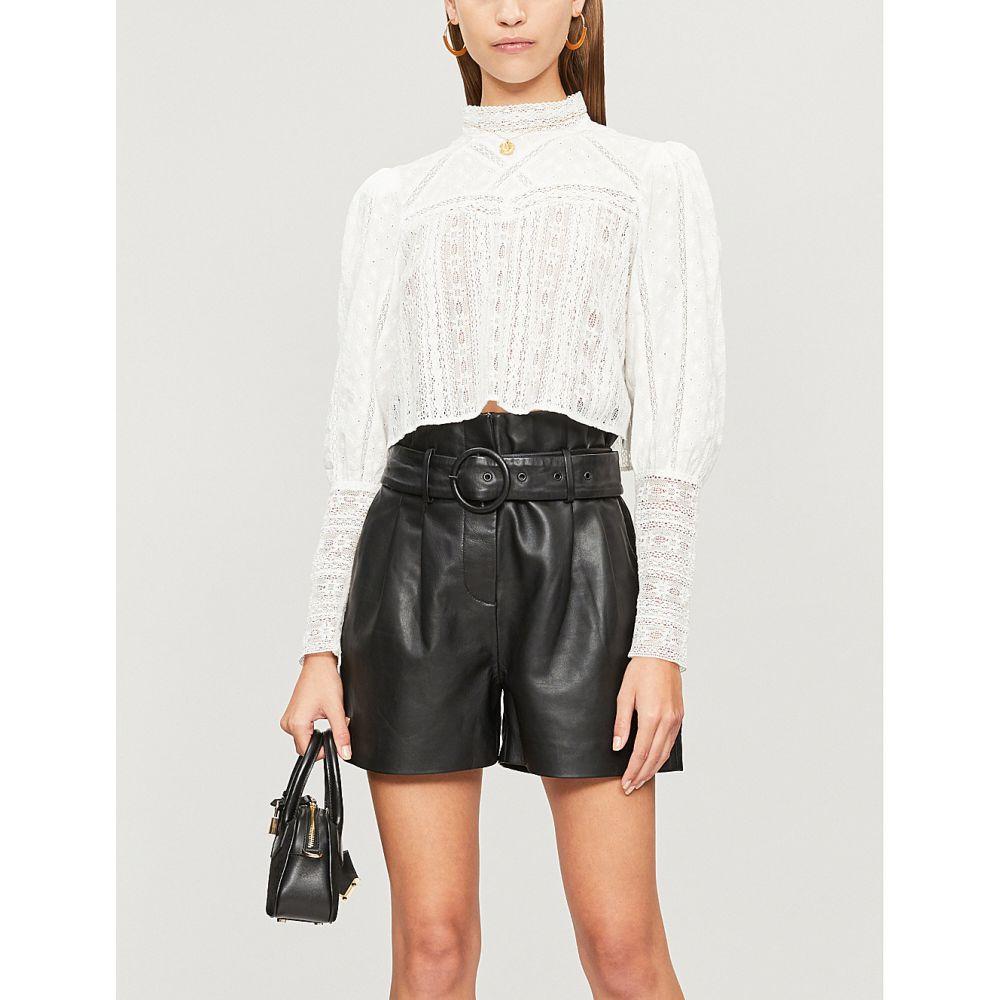 クーパース the kooples レディース トップス ベアトップ・チューブトップ・クロップド【lace-panel cropped cotton blouse】Whi01