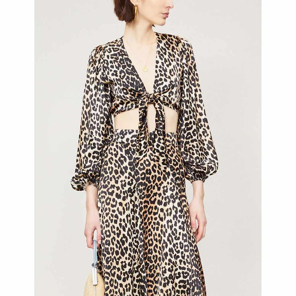 ガニー ganni レディース トップス ベアトップ・チューブトップ・クロップド【blakely leopard-print stretch-silk top】Leopard