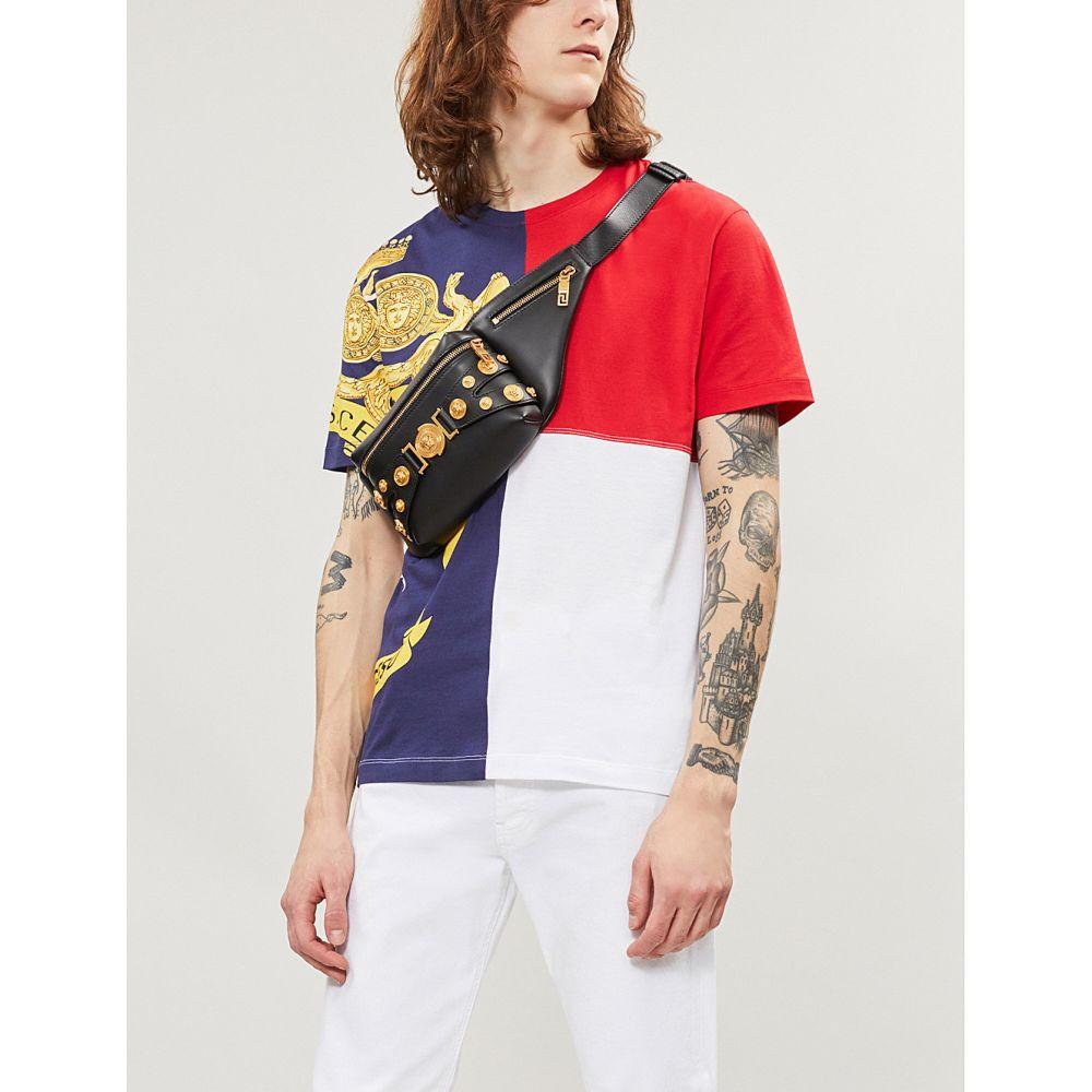 ヴェルサーチ versace メンズ トップス Tシャツ【contrasting brand-print cotton-jersey t-shirt】White blue