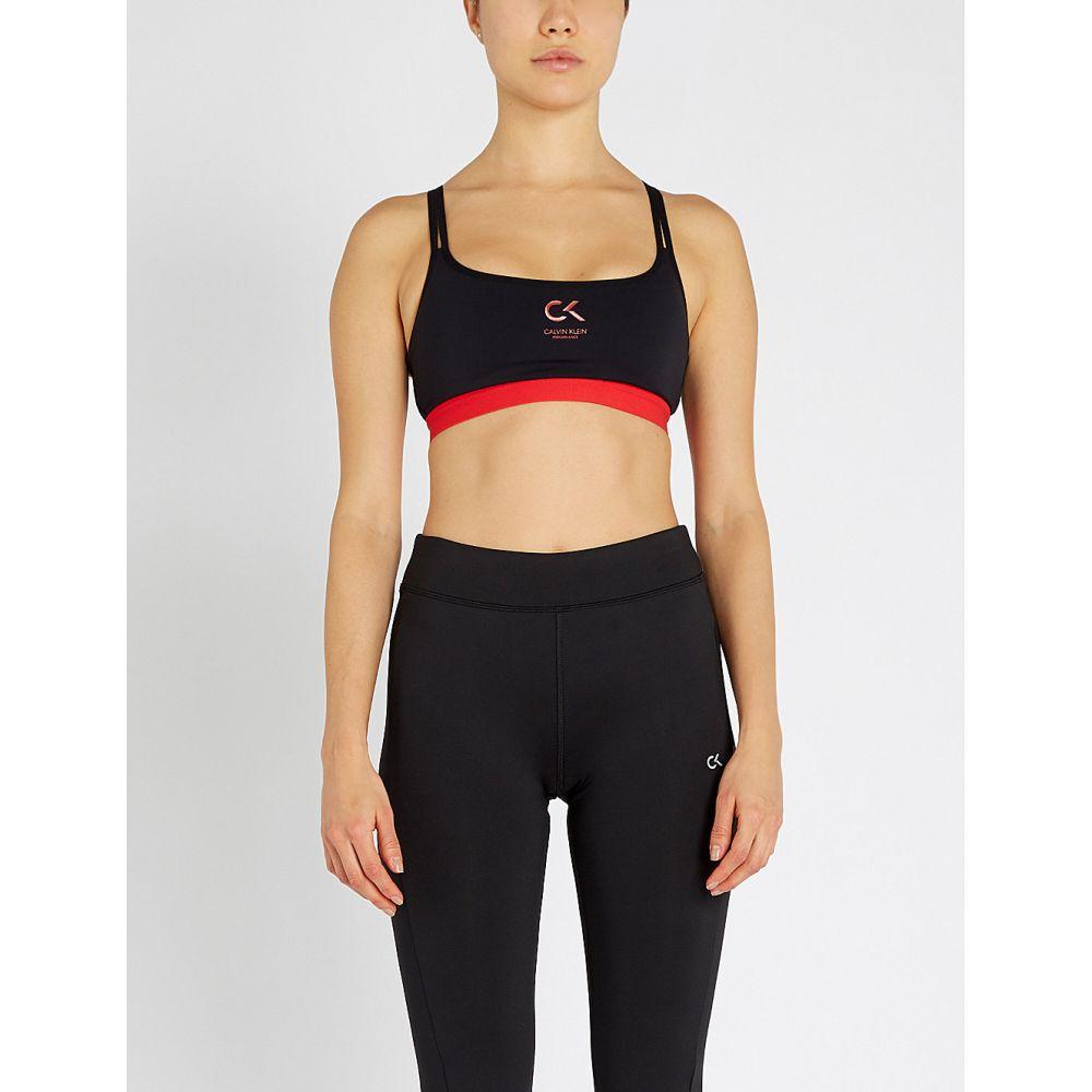 カルバンクライン calvin klein レディース インナー・下着 スポーツブラ【performance logo-print stretch-jersey sports bra】Ck black