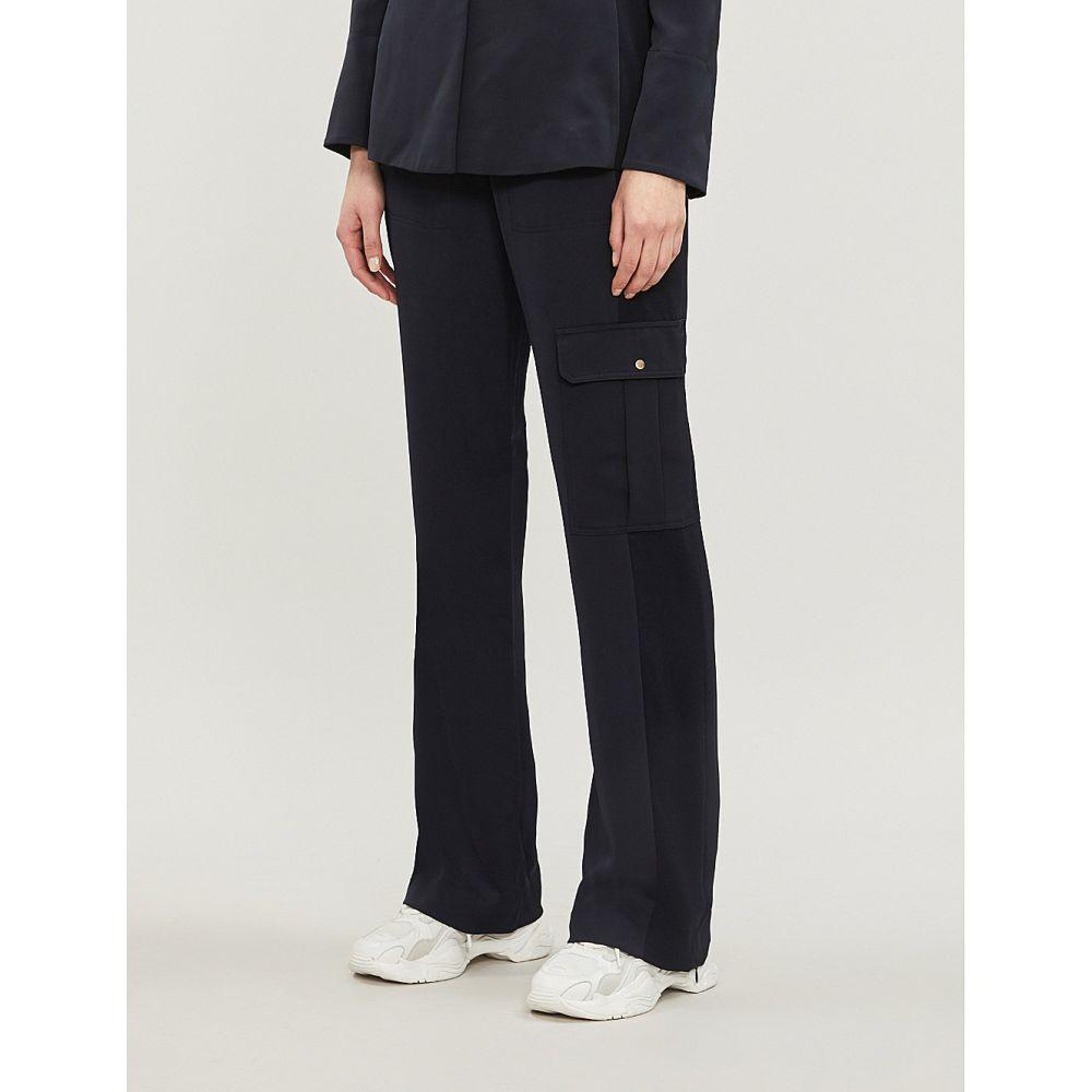 エムイーアンドイーエム me and em レディース ボトムス・パンツ【contrast-drawstring high-rise wide-leg crepe trousers】Navy, イベント企画:16c53dd5 --- homeagent.jp