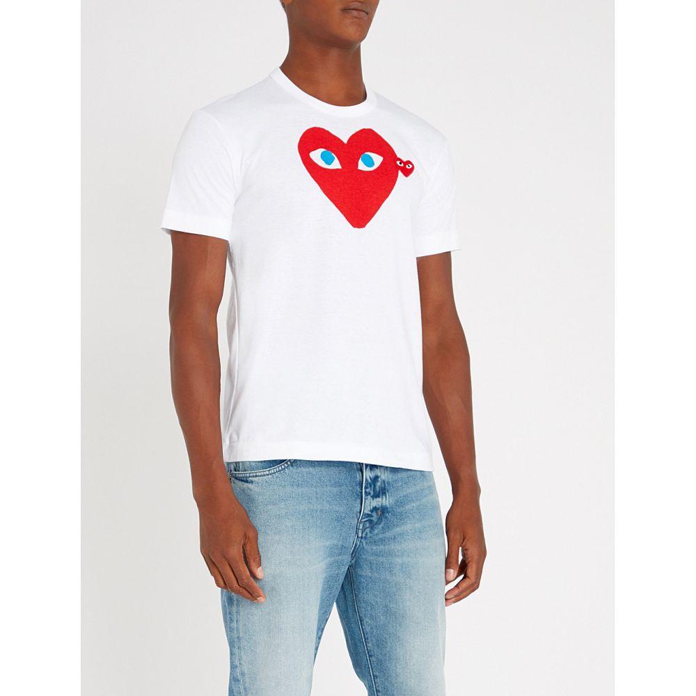 コム デ ギャルソン comme des garcons play メンズ トップス Tシャツ【heart eye cotton-jersey t-shirt】White