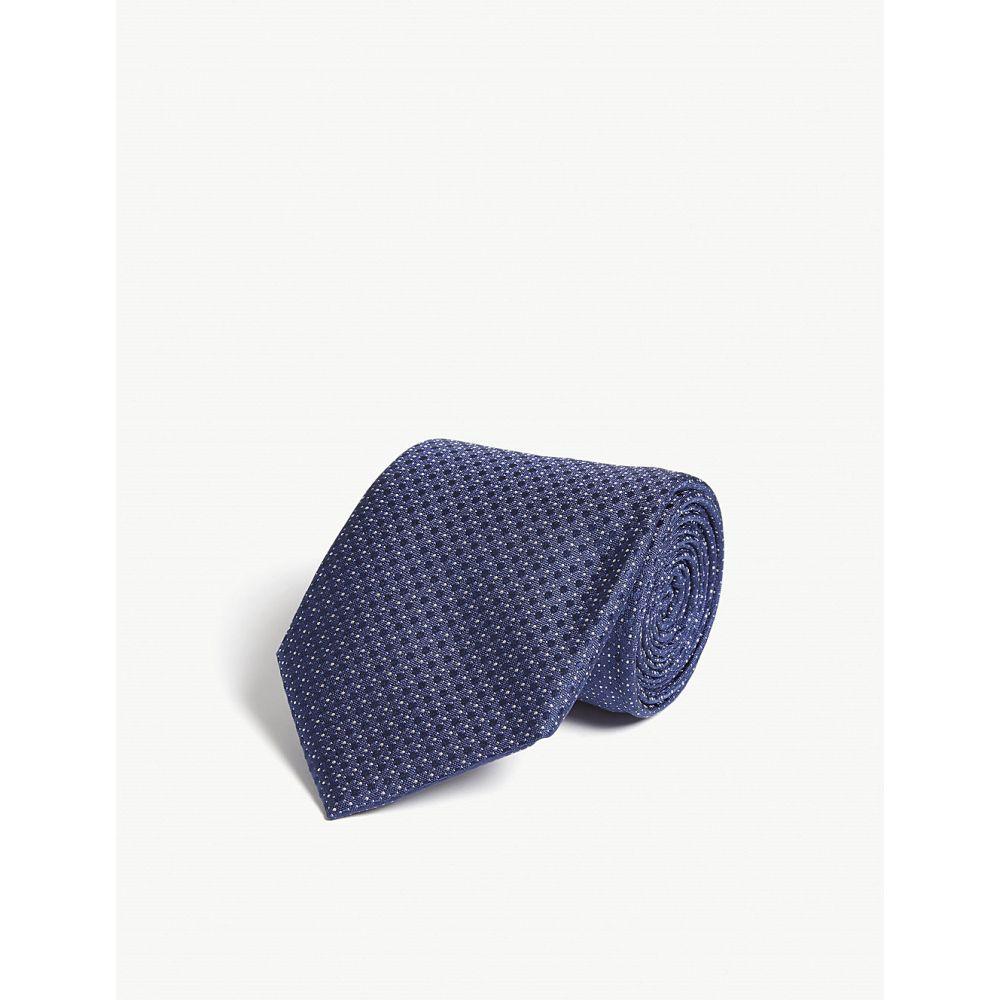 コルネリアーニ corneliani メンズ ネクタイ【square and mini-dot print silk tie】Blue 2