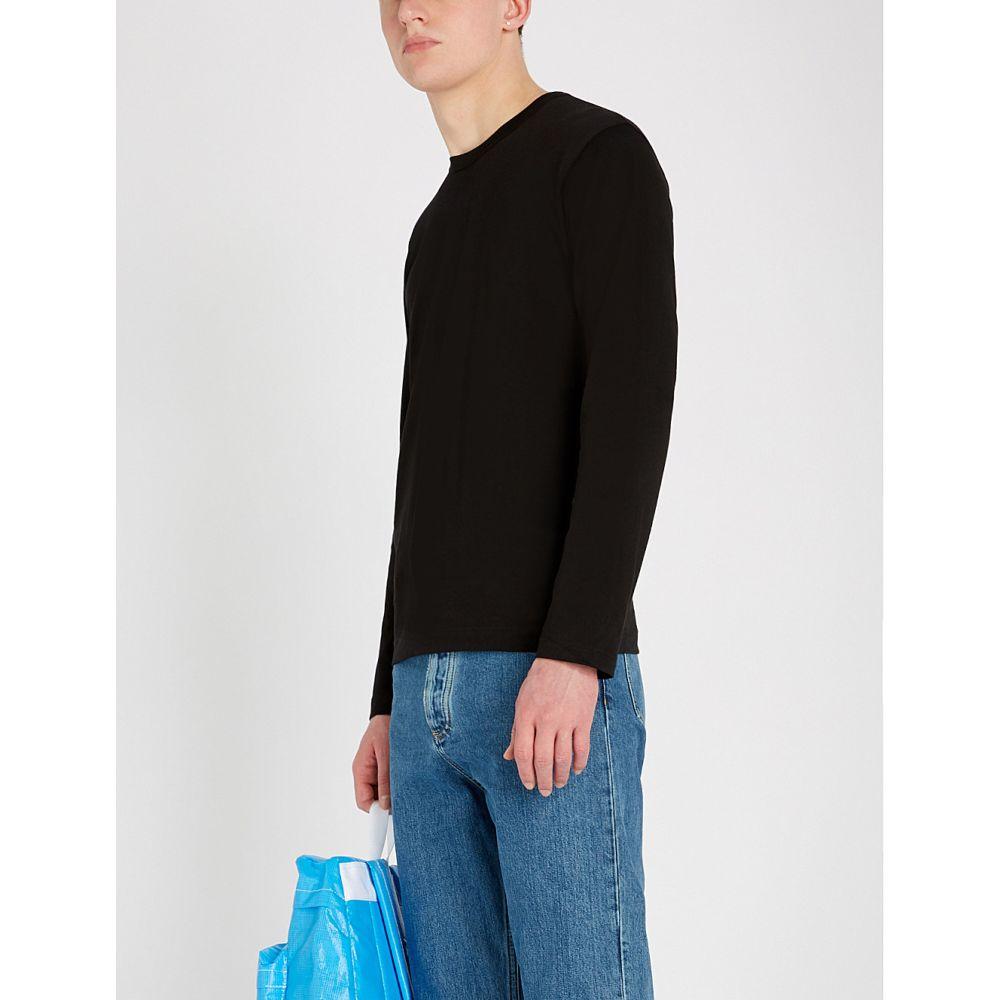 コム デ ギャルソン comme des garcons shirt メンズ トップス 長袖Tシャツ【branded-neckline crewneck cotton top】Black