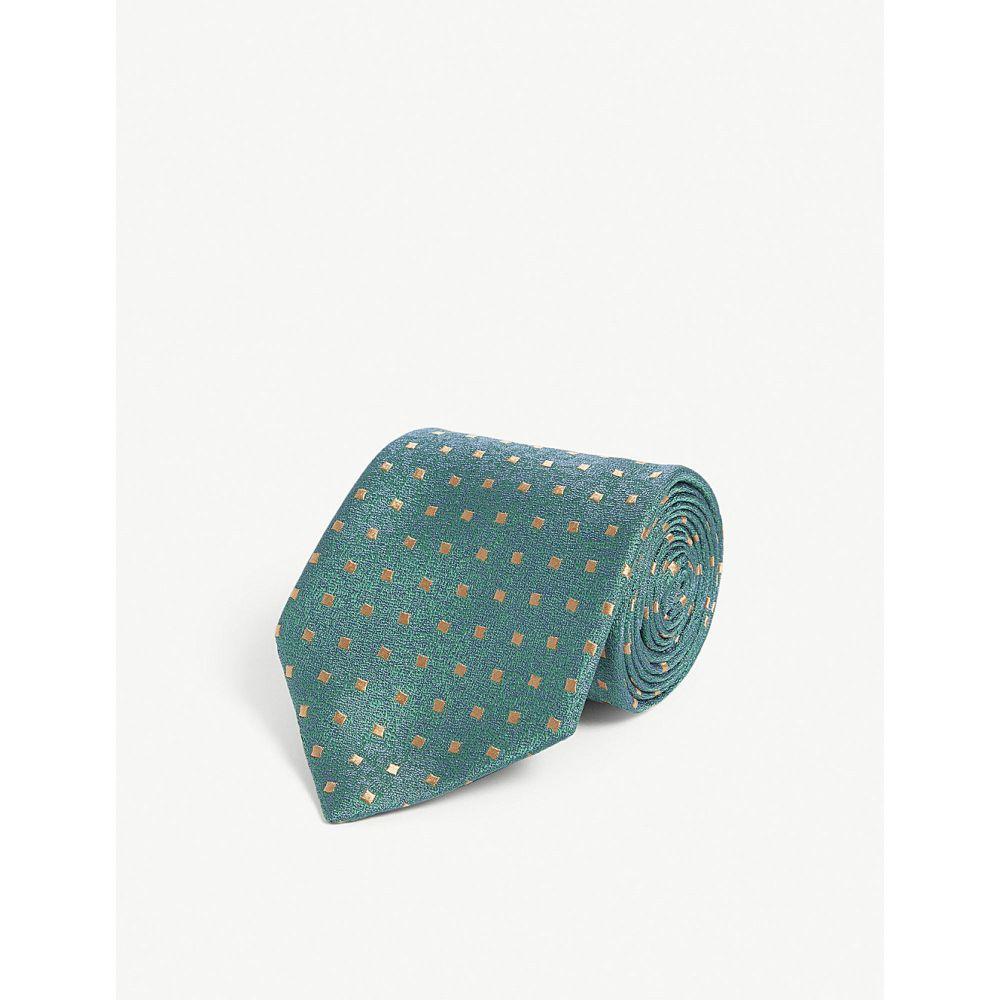 シャルベ charvet メンズ ネクタイ【mini square print silk tie】Green orange