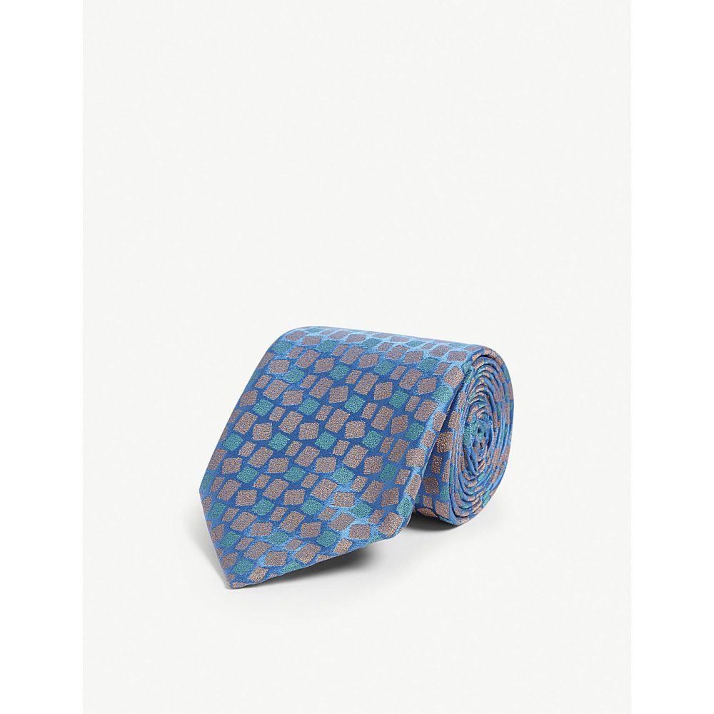 シャルベ charvet メンズ ネクタイ【block print silk tie】Blue orange