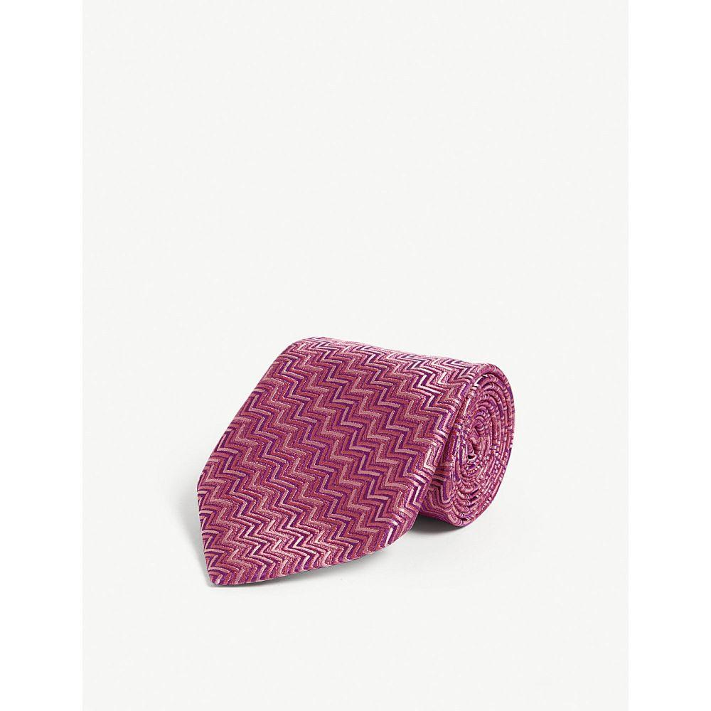 シャルベ charvet メンズ ネクタイ【geometric zig-zag tie】Pink
