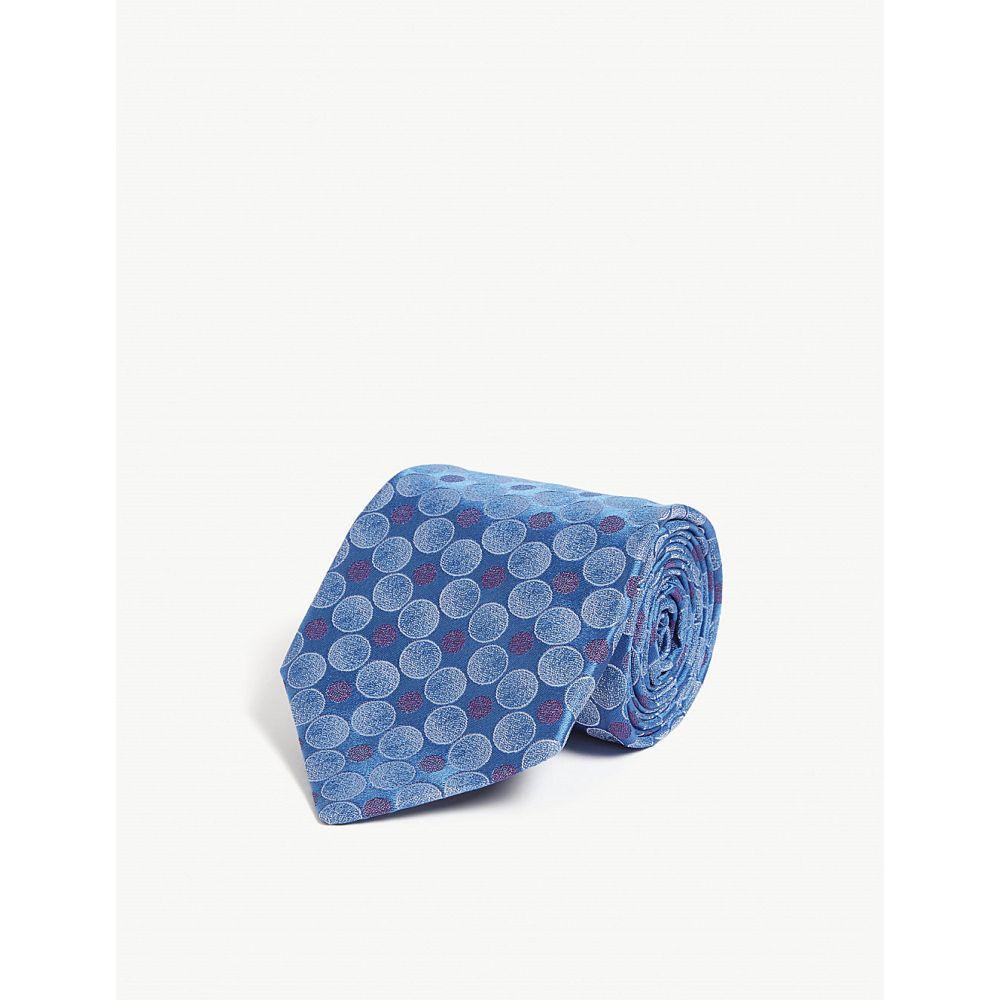 シャルベ charvet メンズ ネクタイ【circle print silk tie】Blue sky