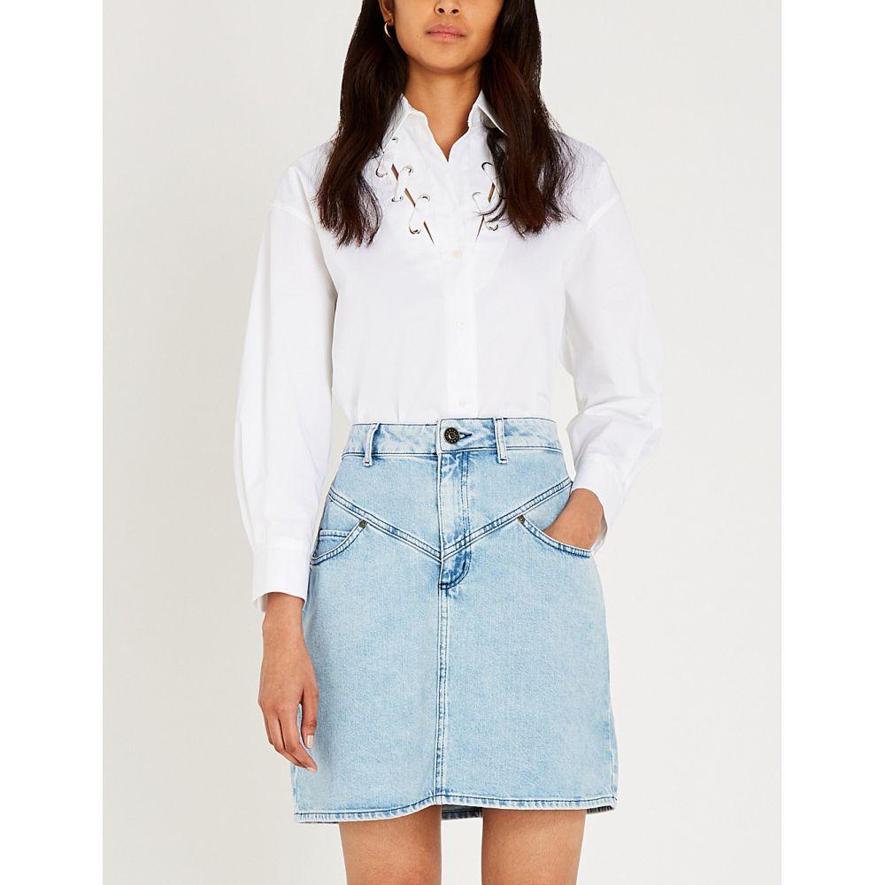 サンドロ sandro レディース トップス ブラウス・シャツ【lace-detail cotton-poplin shirt】White