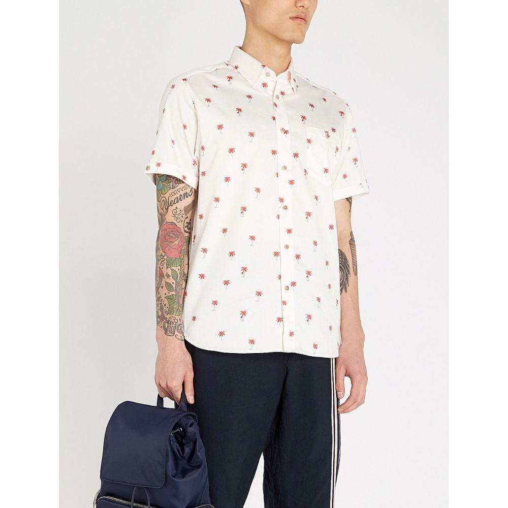 テッドベーカー ted baker メンズ トップス ポロシャツ【toadtwo palm-trees print cotton shirt】Lt-pink