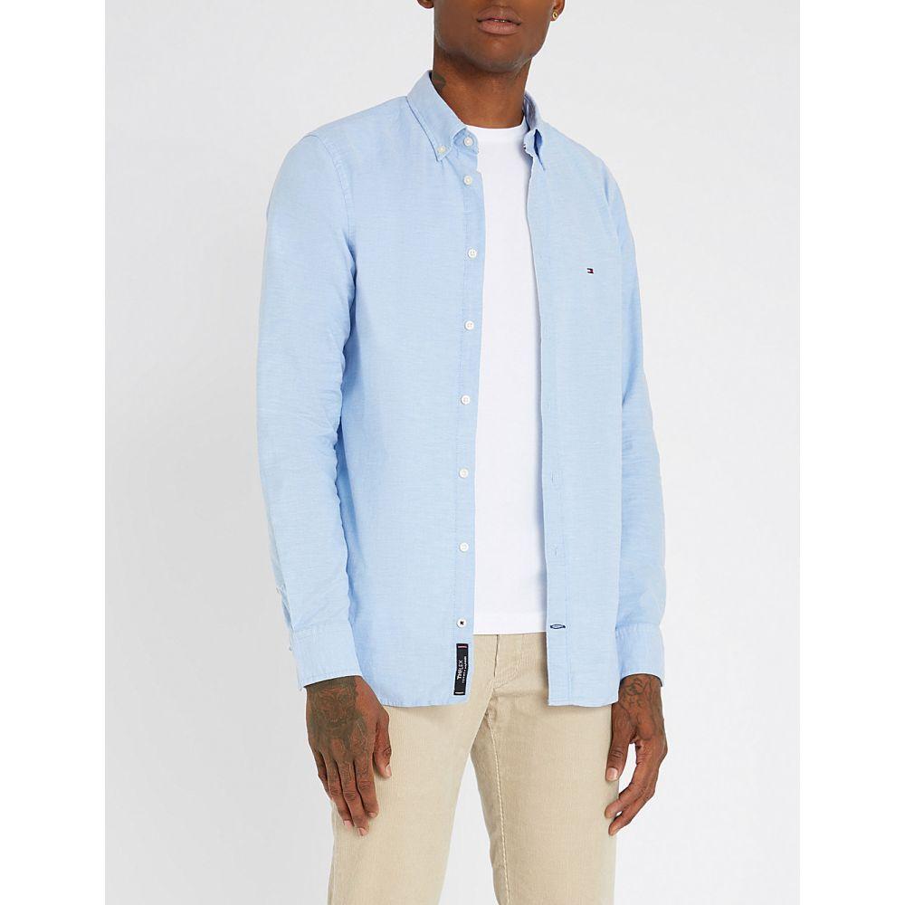 トミー ヒルフィガー tommy hilfiger メンズ トップス シャツ【regular-fit stretch-cotton oxford shirt】L.blue