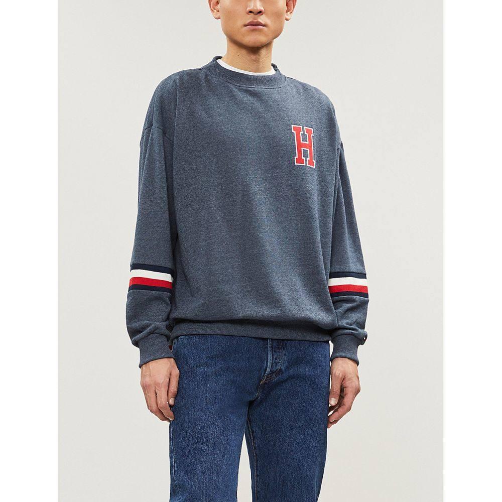 トミー ヒルフィガー tommy hilfiger メンズ トップス スウェット・トレーナー【stripe sleeve insert cotton-jersey sweatshirt】Grey
