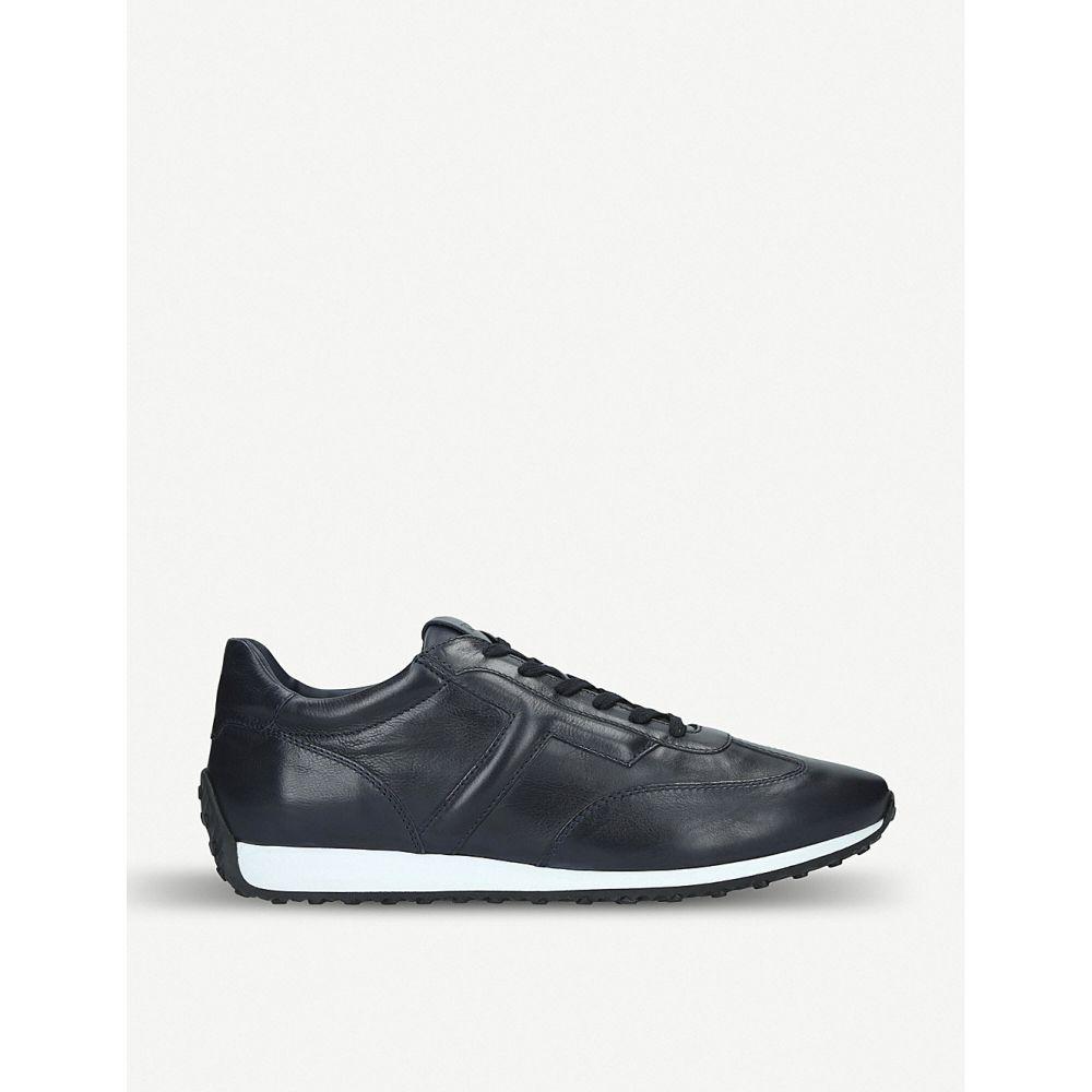 トッズ tods メンズ ランニング・ウォーキング シューズ・靴【embossed logo leather runner trainers】Navy