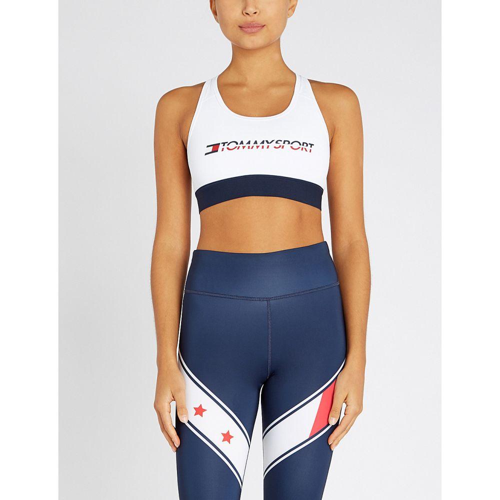 トミー ヒルフィガー tommy hilfiger レディース インナー・下着 スポーツブラ【logo-print stretch-jersey sports bra】Pvh white