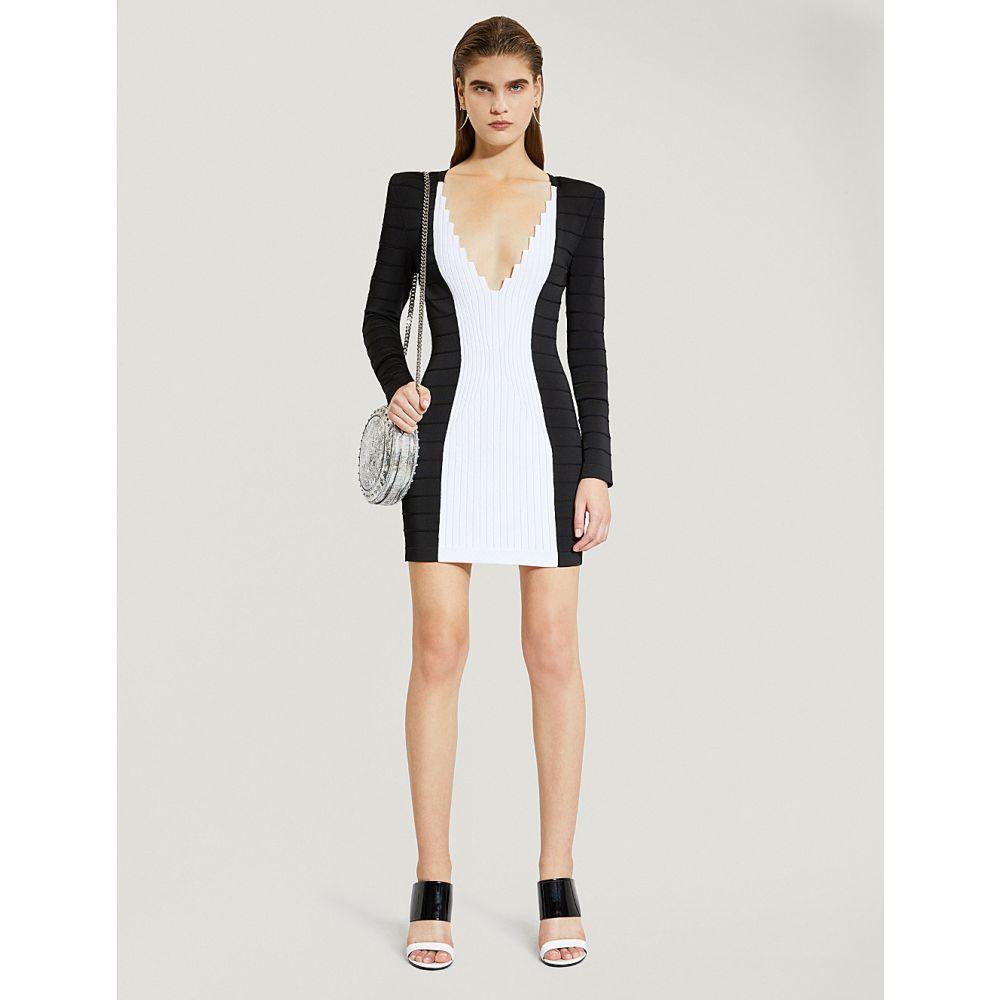 バルマン balmain レディース ワンピース・ドレス パーティードレス【contrast-panel stretch-jersey dress】Noir/blanc