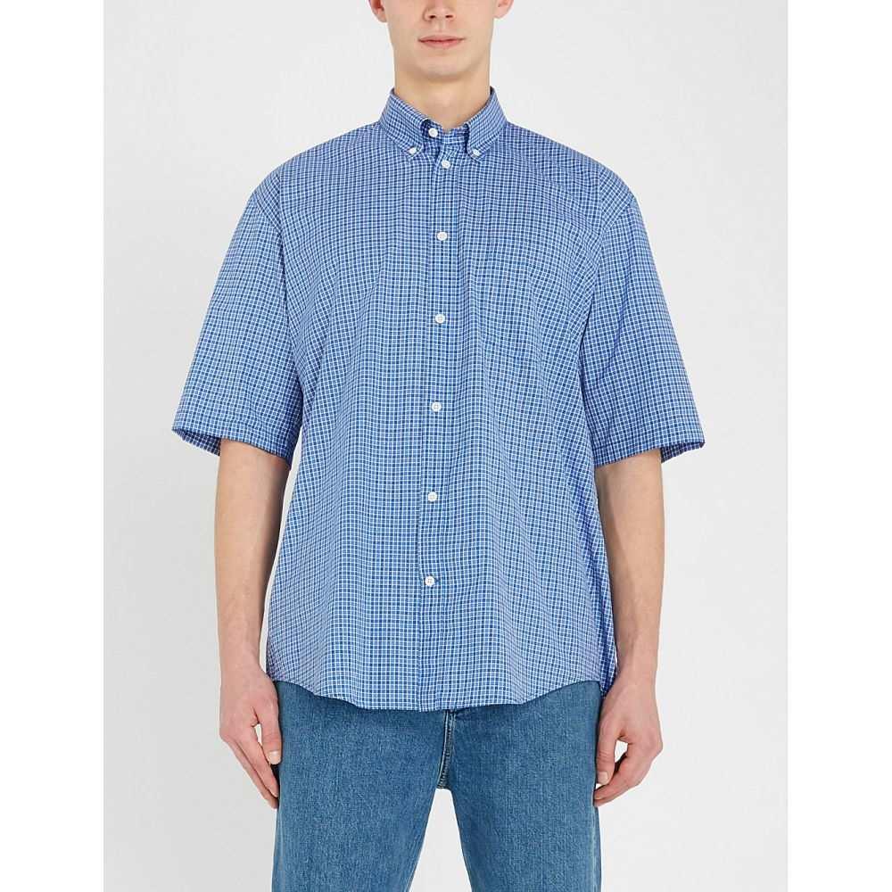 バレンシアガ balenciaga メンズ トップス 半袖シャツ【checked oversized cotton shirt】Blue/white