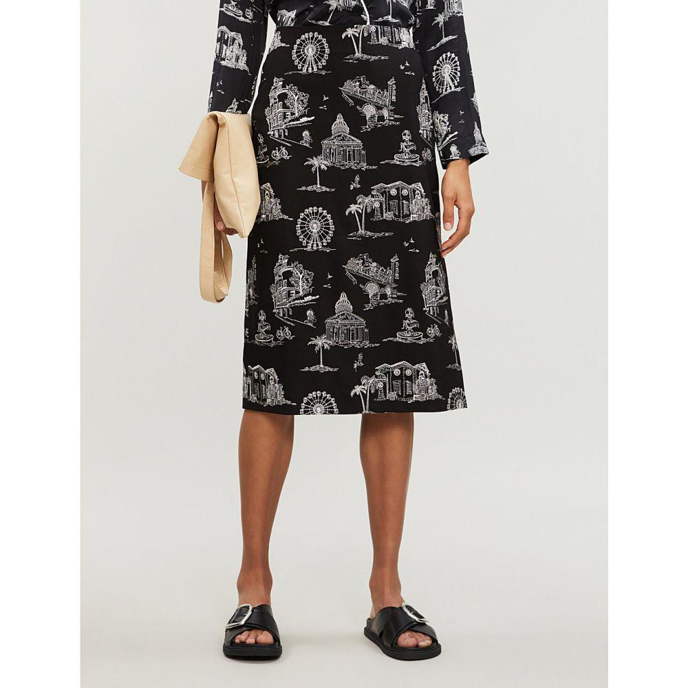 マージュ maje レディース スカート ひざ丈スカート【embroidered high-waist-twill skirt】Black 210