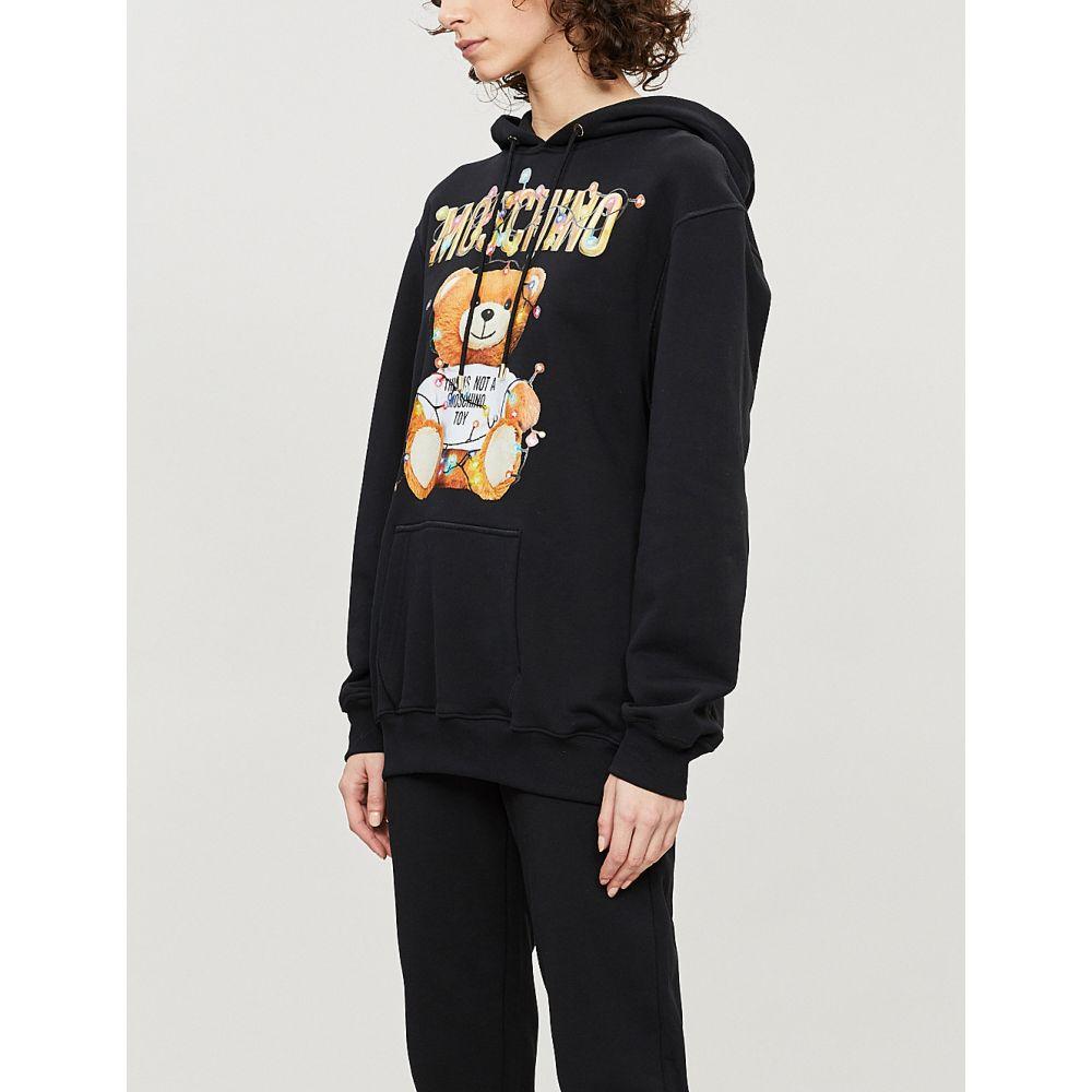 モスキーノ moschino レディース トップス パーカー【teddy-print cotton-jersey hoody】Black