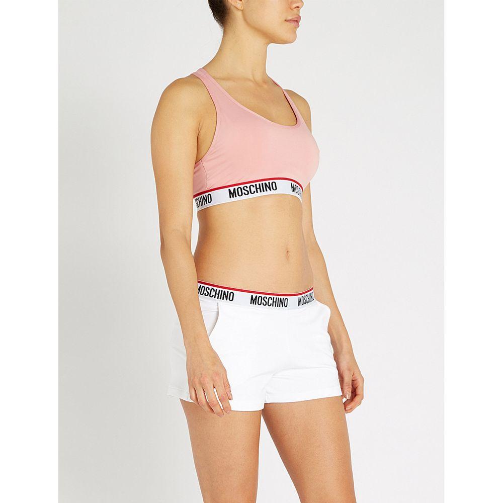 モスキーノ moschino レディース インナー・下着 パジャマ・トップのみ【logo-trim jersey crop top】Pink