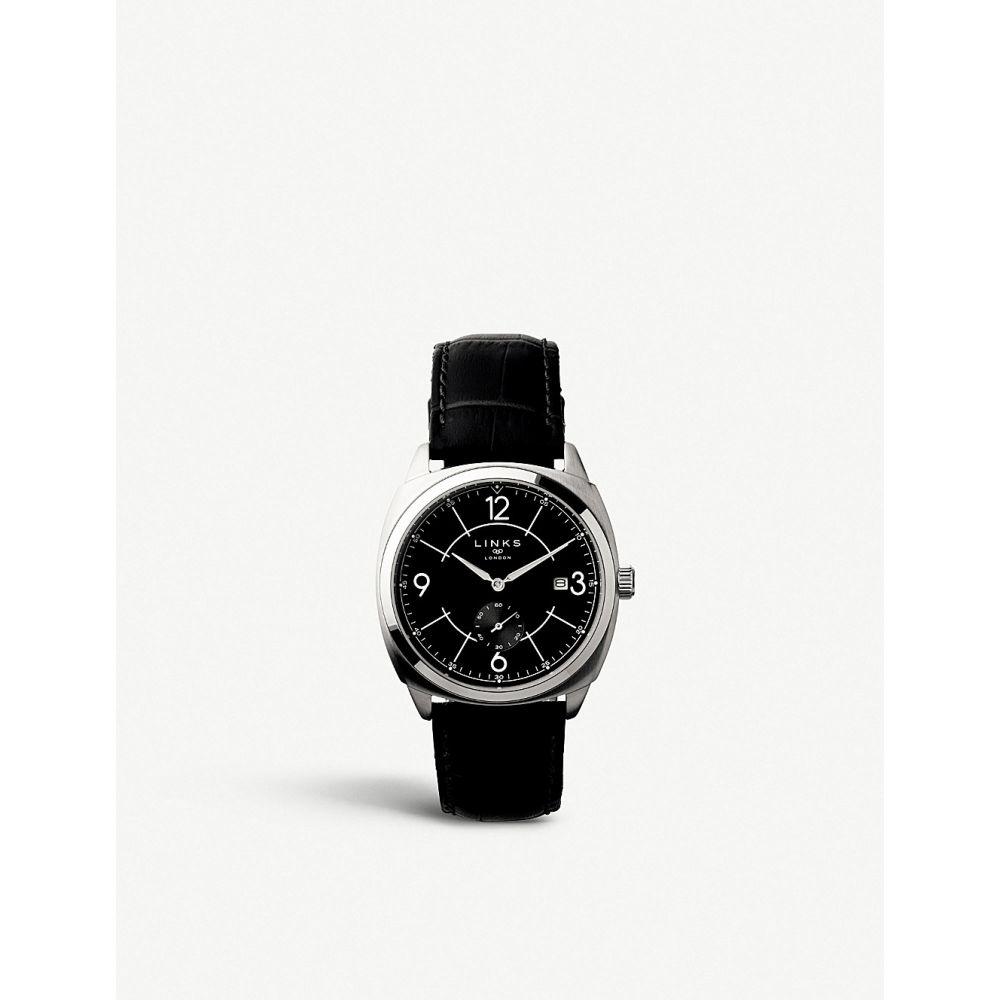 リンクス オブ ロンドン links of london メンズ 腕時計【brompton stainless steel and leather chronograph watch】Black