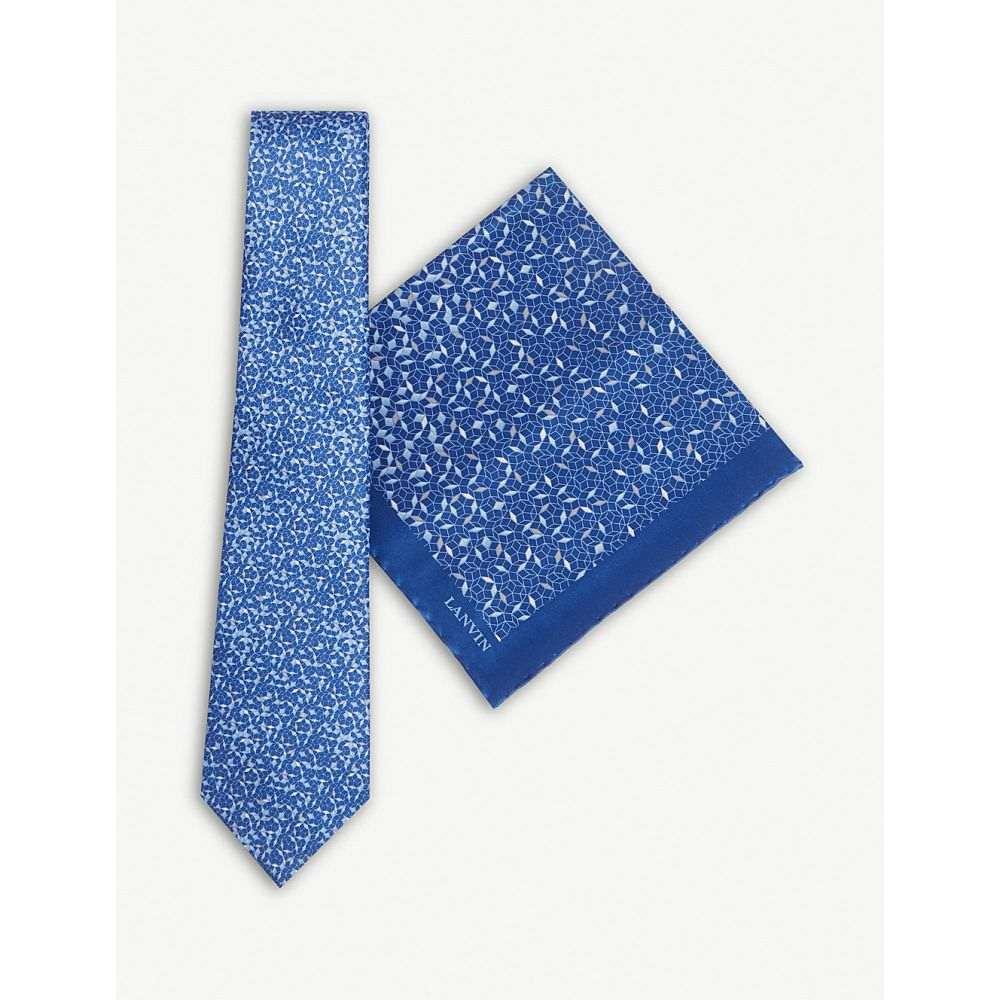 ランバン lanvin メンズ ネクタイ【mosaic print silk tie and pocket square set】Blue