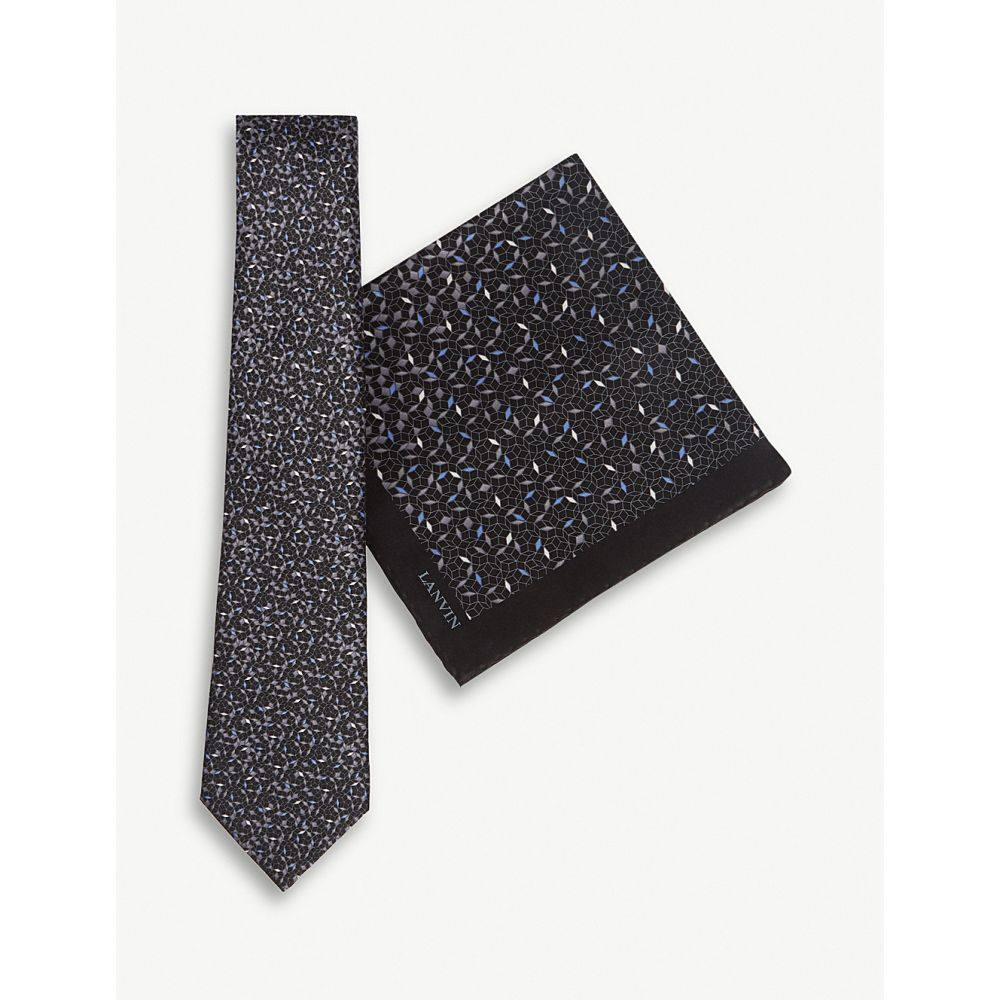 ランバン lanvin メンズ ネクタイ【mosaic print silk tie and pocket square set】Black