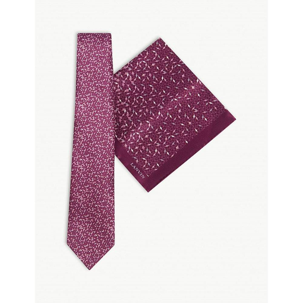 ランバン lanvin メンズ ネクタイ【mosaic print silk tie and pocket square set】Purple
