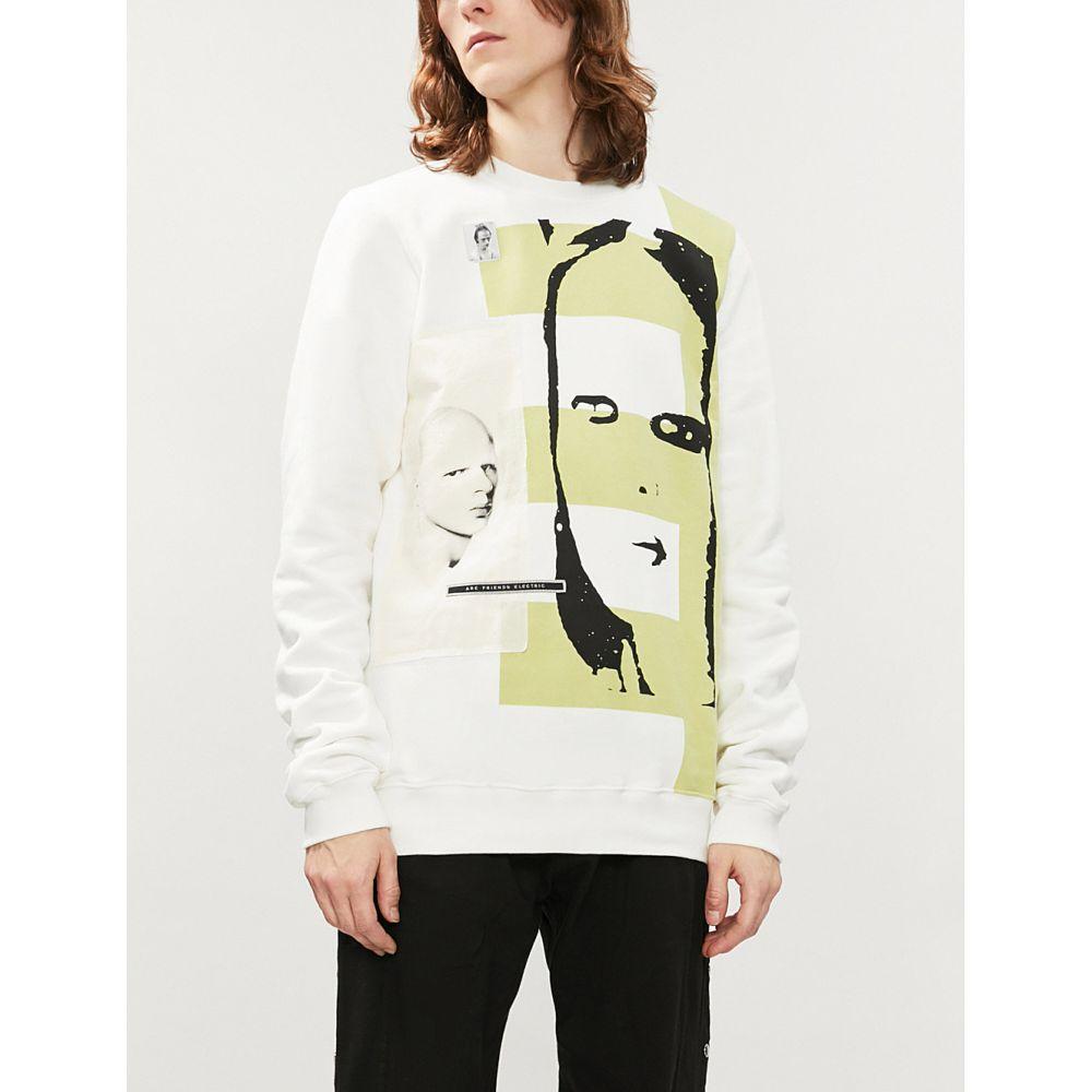 リック オウエンス rick owens drkshdw メンズ トップス スウェット・トレーナー【portraits-print cotton-jersey sweatshirt】Natural lime