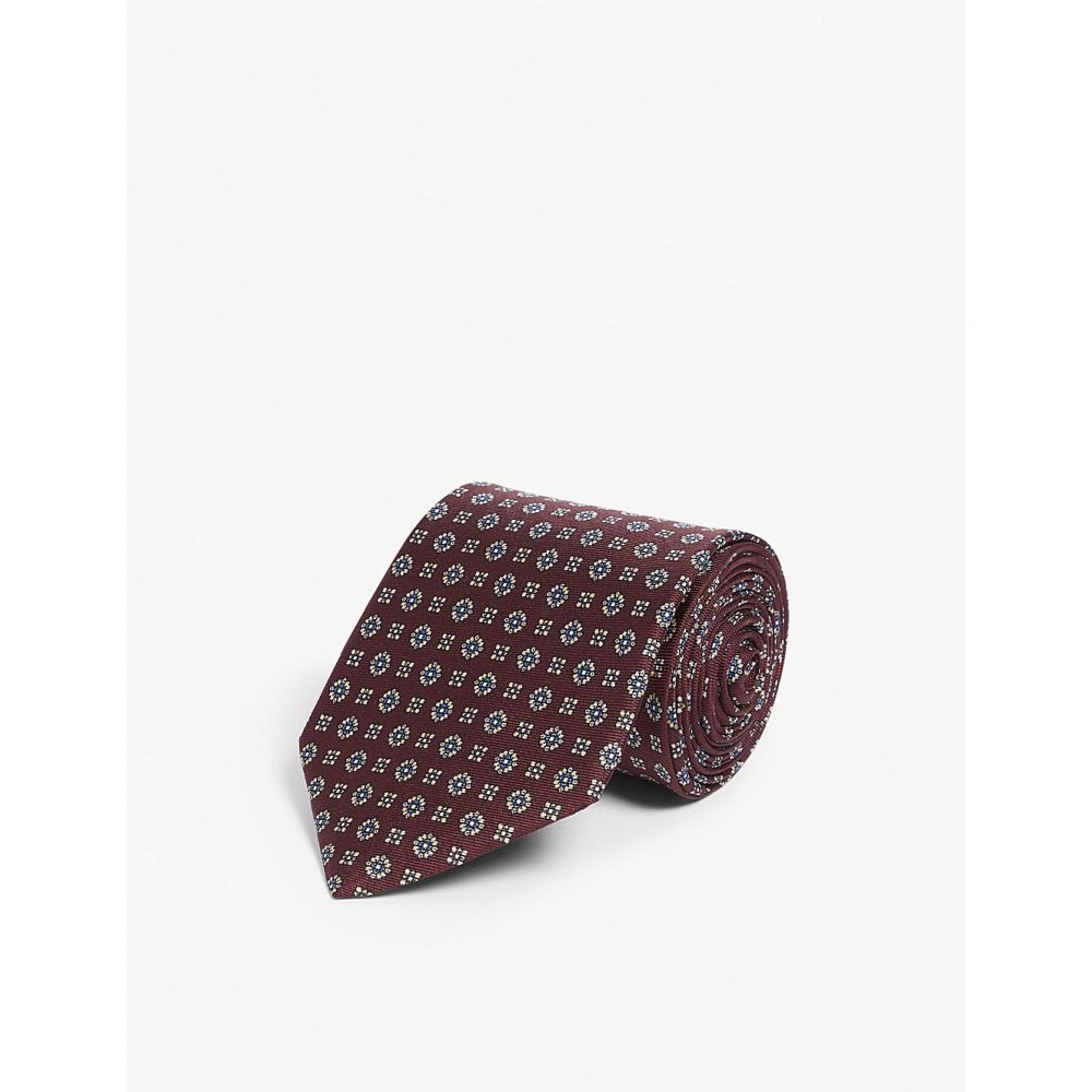 リース reiss メンズ ネクタイ【geometric print silk tie】Bordeaux