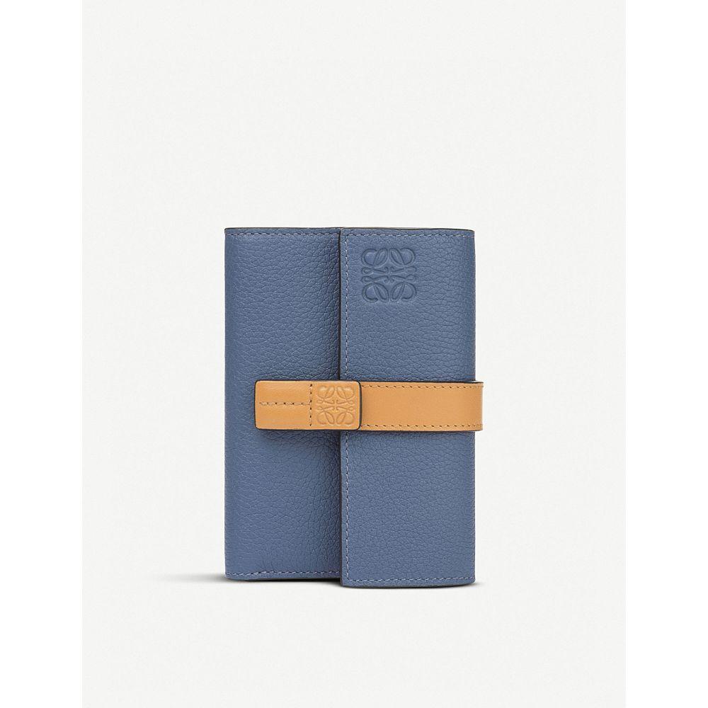 ロエベ loewe レディース 財布【small vertical calfskin wallet】Varsity blue/honey