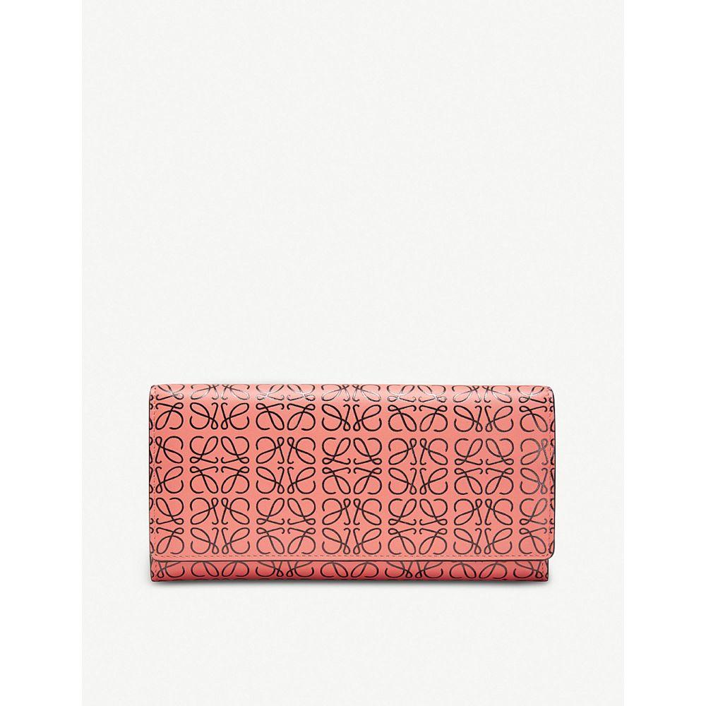 ロエベ loewe レディース 財布【continental logo-embossed leather wallet】Pink tulip/black