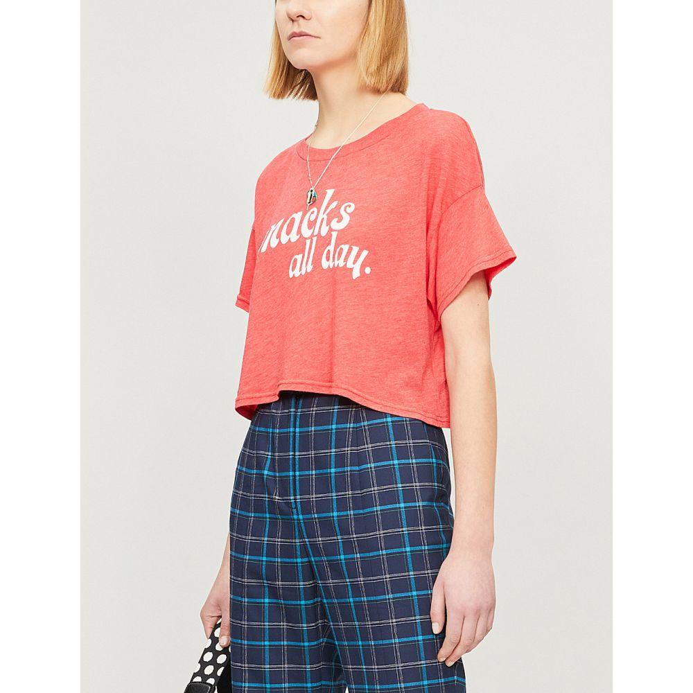 ワイルドフォックス wildfox レディース トップス ベアトップ・チューブトップ・クロップド【text print cropped cotton-blend t-shirt】Poppy red