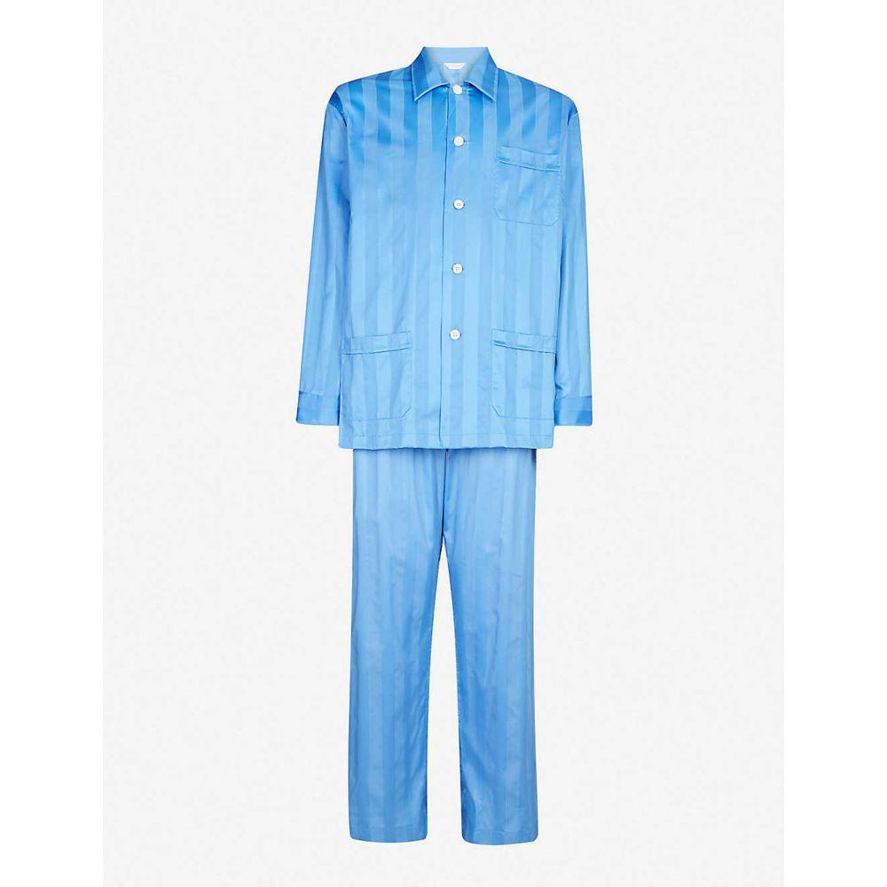 デリック ローズ DEREK ROSE メンズ インナー・下着 パジャマ・上下セット【Lingfield cotton-satin striped pyjama set】French blue