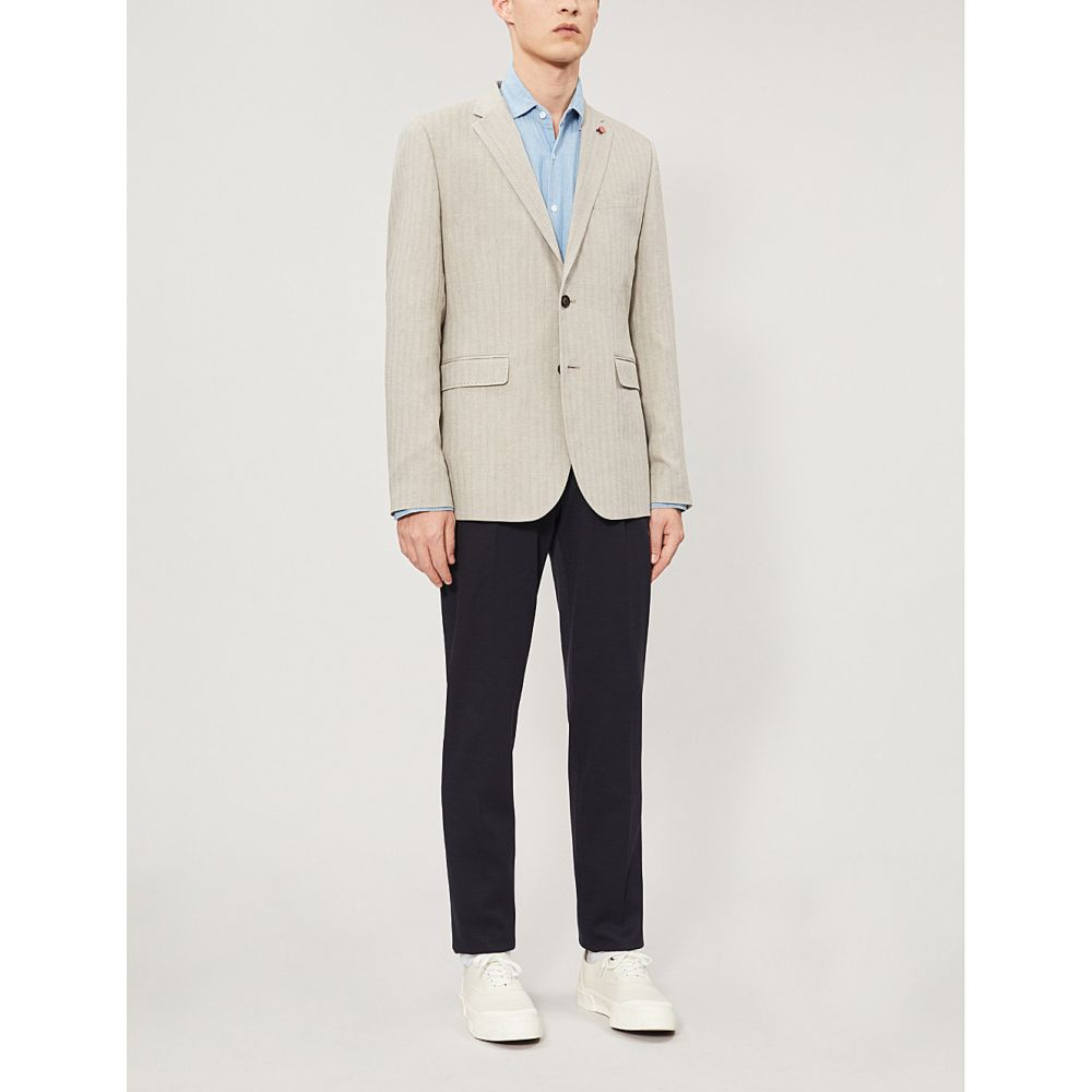 テッドベーカー TED BAKER メンズ アウター スーツ・ジャケット【Balrom herringbone-patterned slim-fit woven blazer】Natural