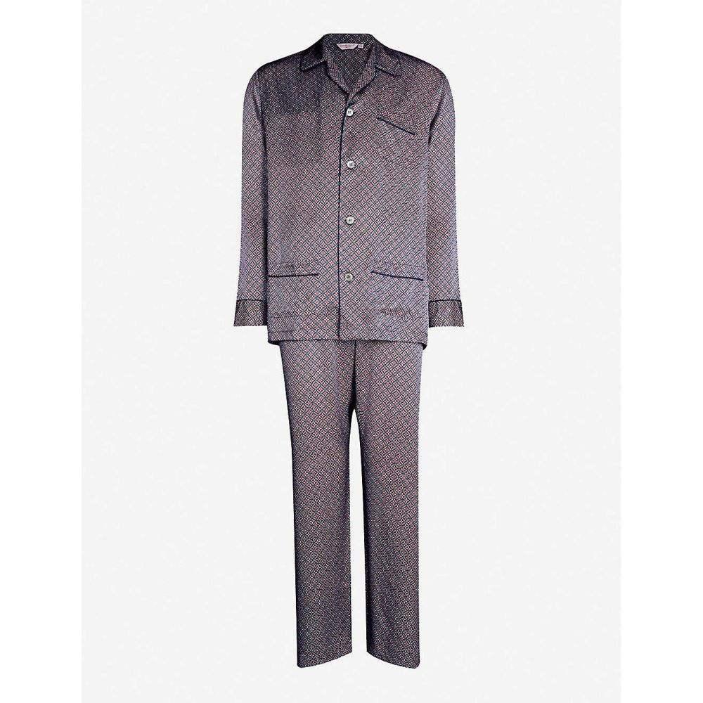 デリック ローズ DEREK ROSE メンズ インナー・下着 パジャマ・上下セット【Brindisi 37 geometric-print pure silk pyjama set】Red